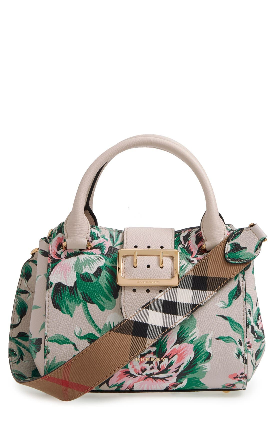 Small Buckle Floral Calfskin Leather Satchel,                             Main thumbnail 1, color,                             Emerald Green