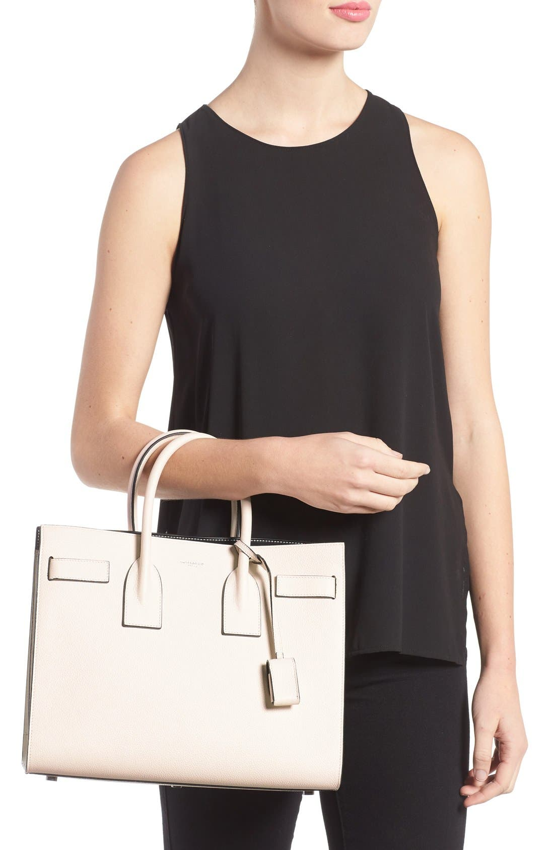 Small Sac de Jour Calfskin Leather Tote,                             Alternate thumbnail 2, color,                             Porcellana/Nero