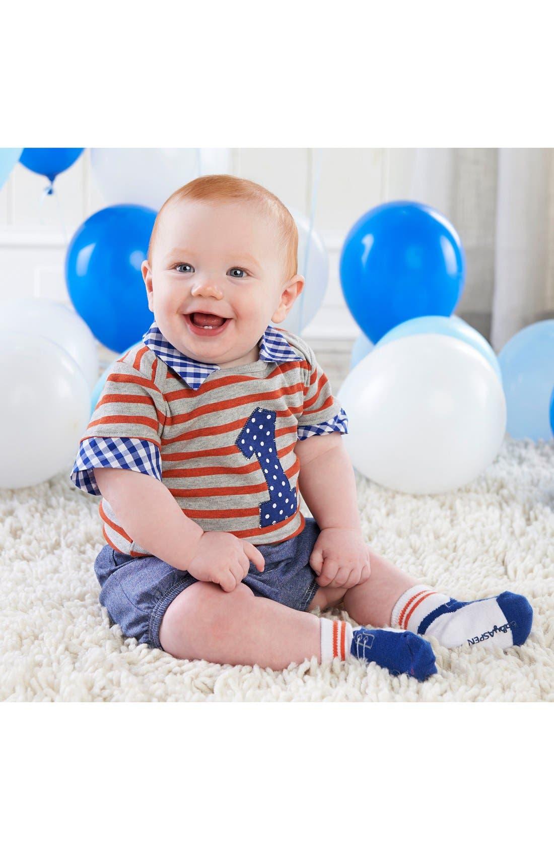 Main Image - Baby Aspen My First Birthday Bodysuit, Shorts & Socks Set (Baby Boys)