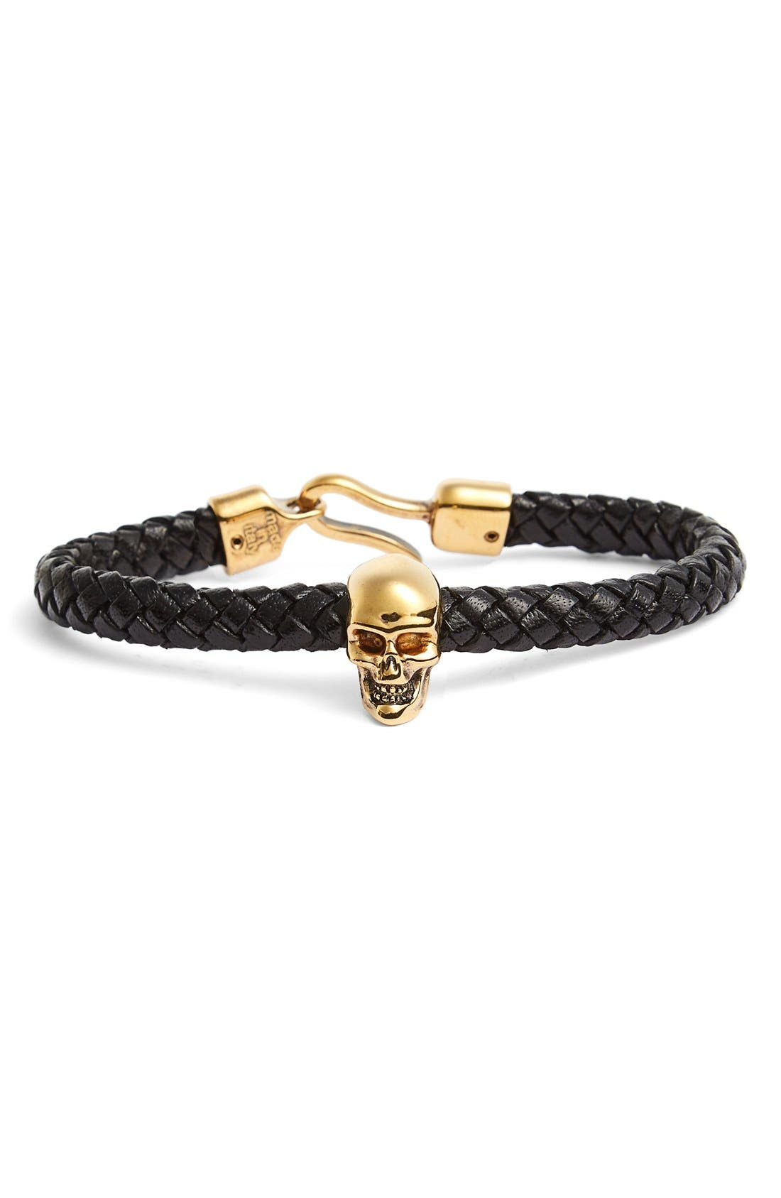 Main Image - Alexander McQueen Braided Leather Bracelet with Skull