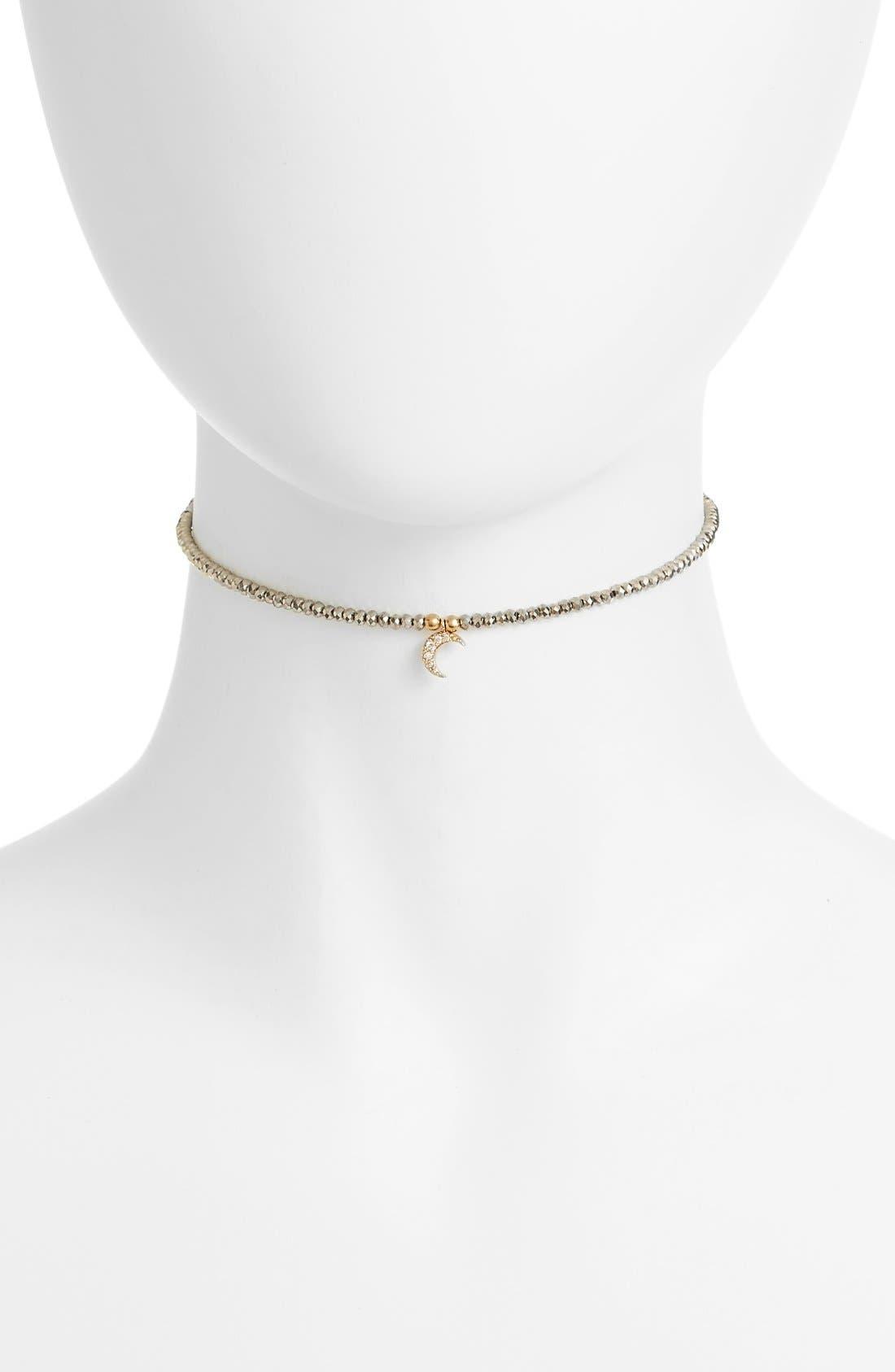 Selene Choker,                         Main,                         color, Gold/ Hematite/ Clear