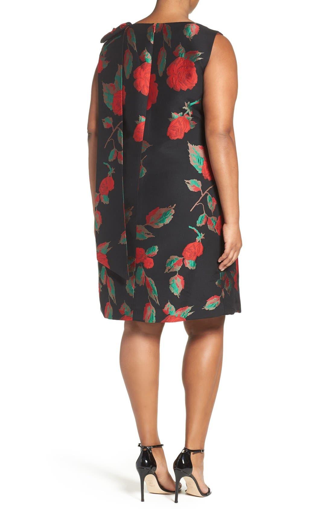 Alternate Image 2  - Tahari Rose Jacquard Shift Dress (Plus Size)