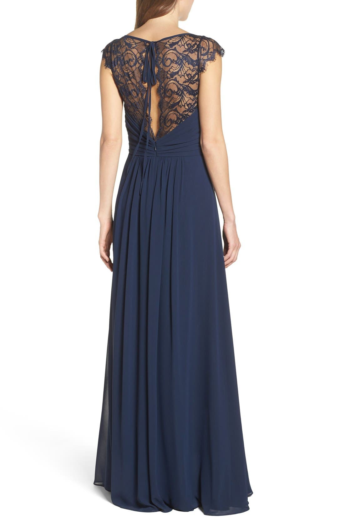 Lace & Chiffon Cap Sleeve Gown,                             Alternate thumbnail 2, color,                             Navy