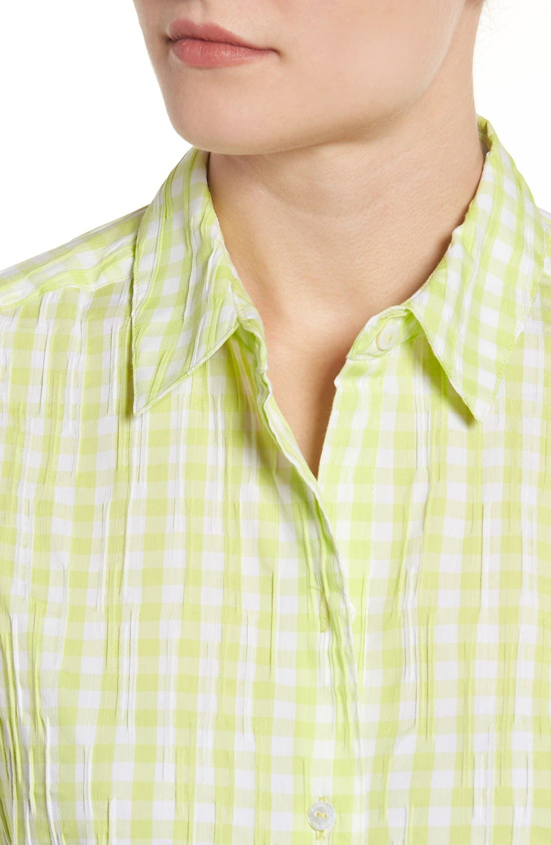 Alternate Image 4  - Foxcroft Crinkled Gingham Shirt (Regular & Petite)