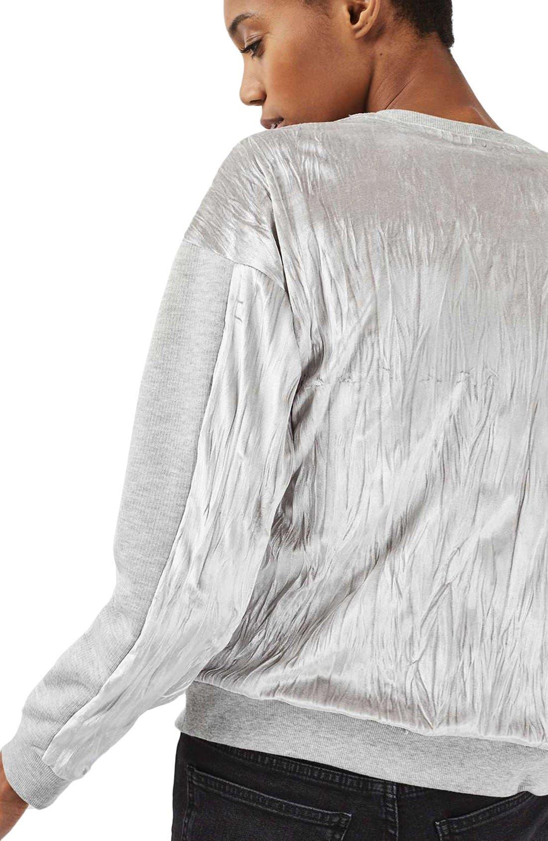Alternate Image 4  - Topshop Crinkle Velvet Back Pullover