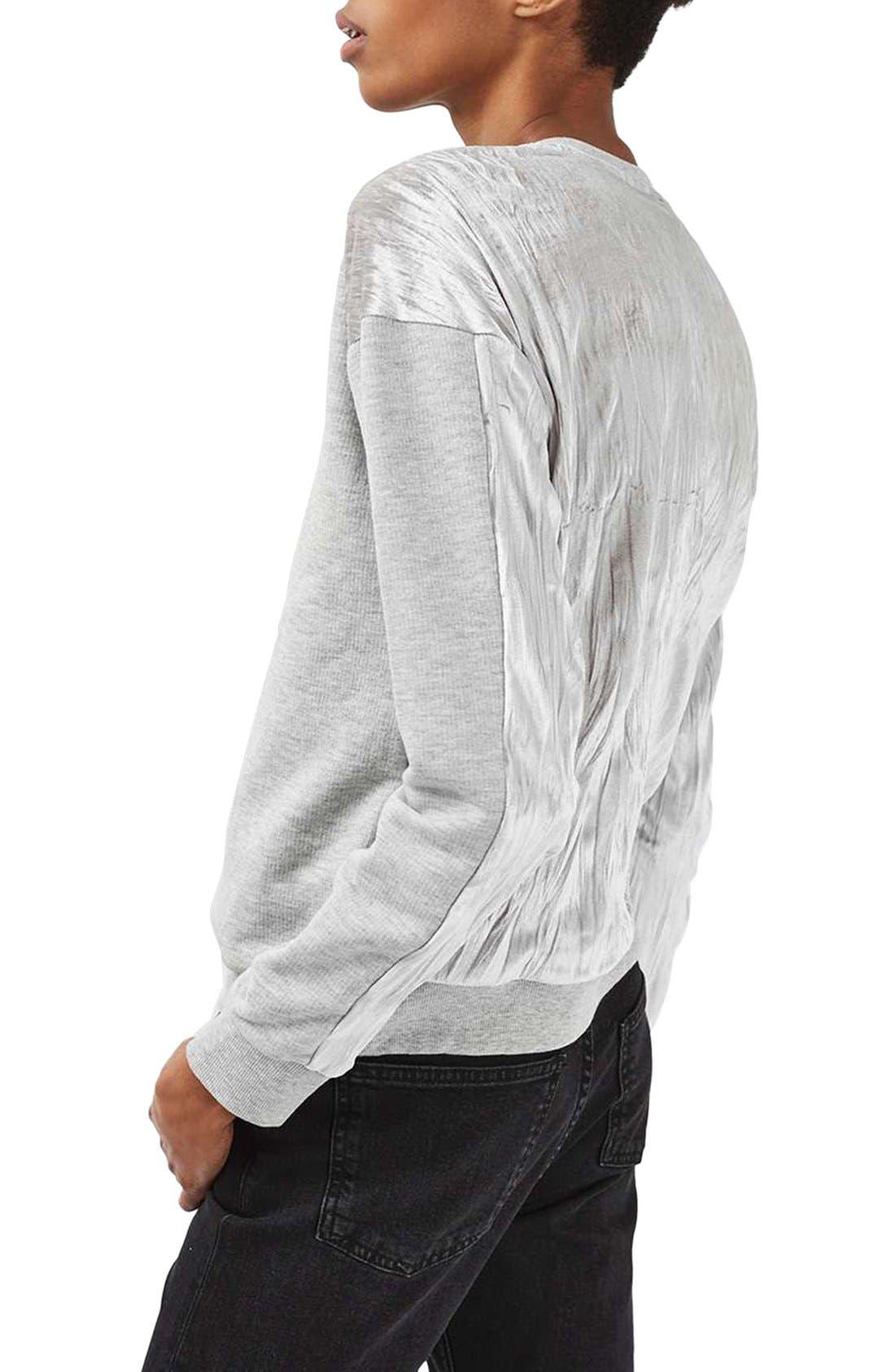 Alternate Image 3  - Topshop Crinkle Velvet Back Pullover