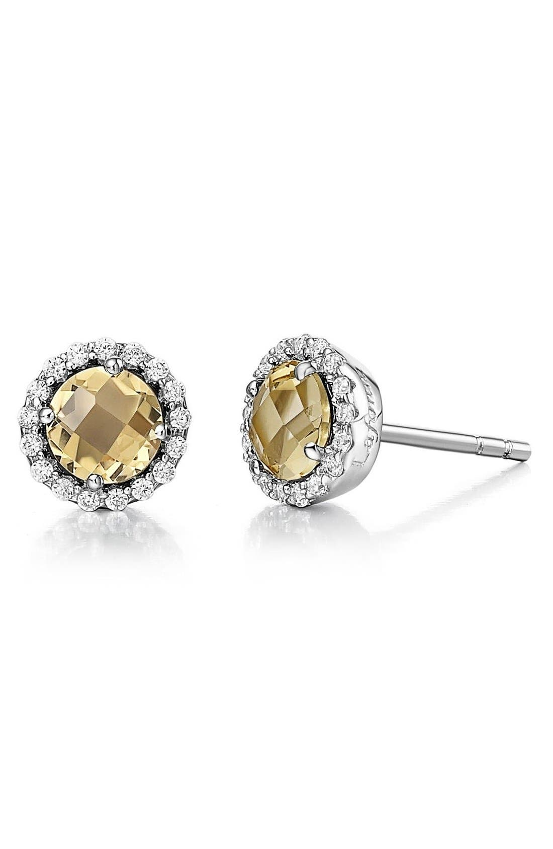 Birthstone Stud Earrings,                         Main,                         color, November Citrine / Silver