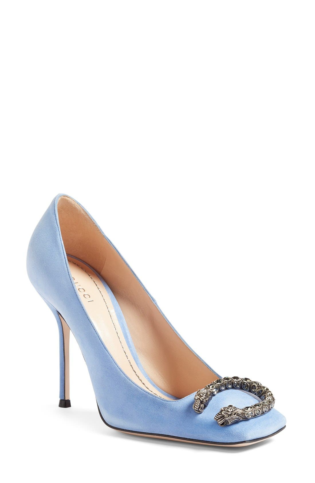 Alternate Image 1 Selected - Gucci Dionysus Embellished Square Toe Pump (Women)