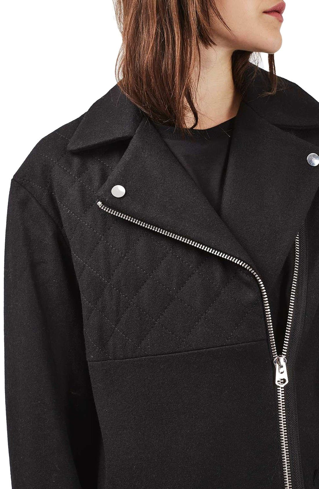 Alternate Image 5  - Topshop Asymmetrical Biker Coat