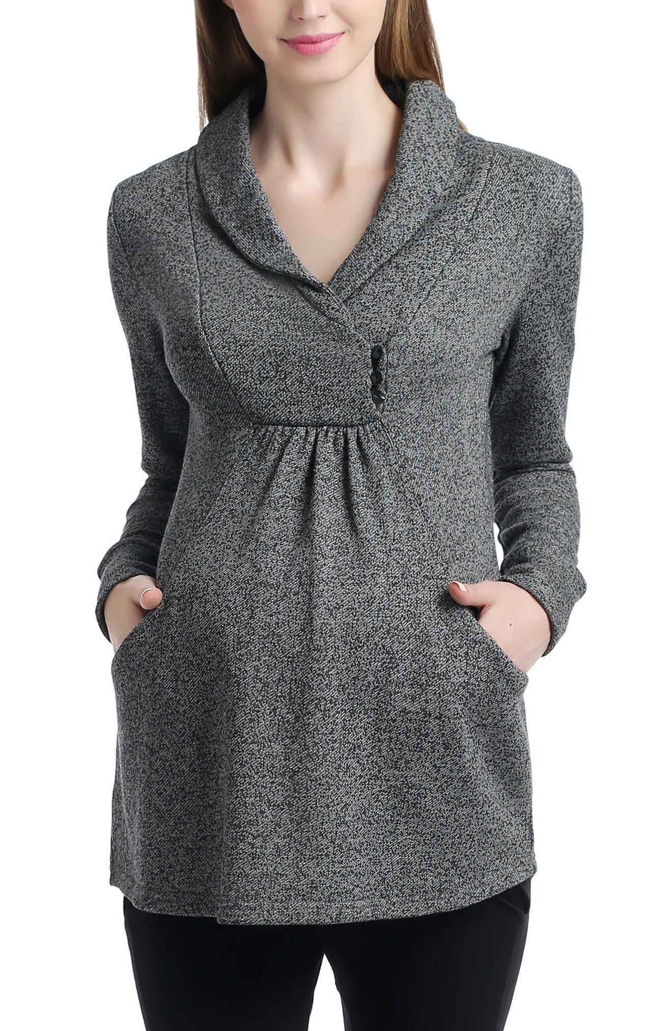 Kimi and Kai Sadie Shawl Collar Maternity Sweatshirt