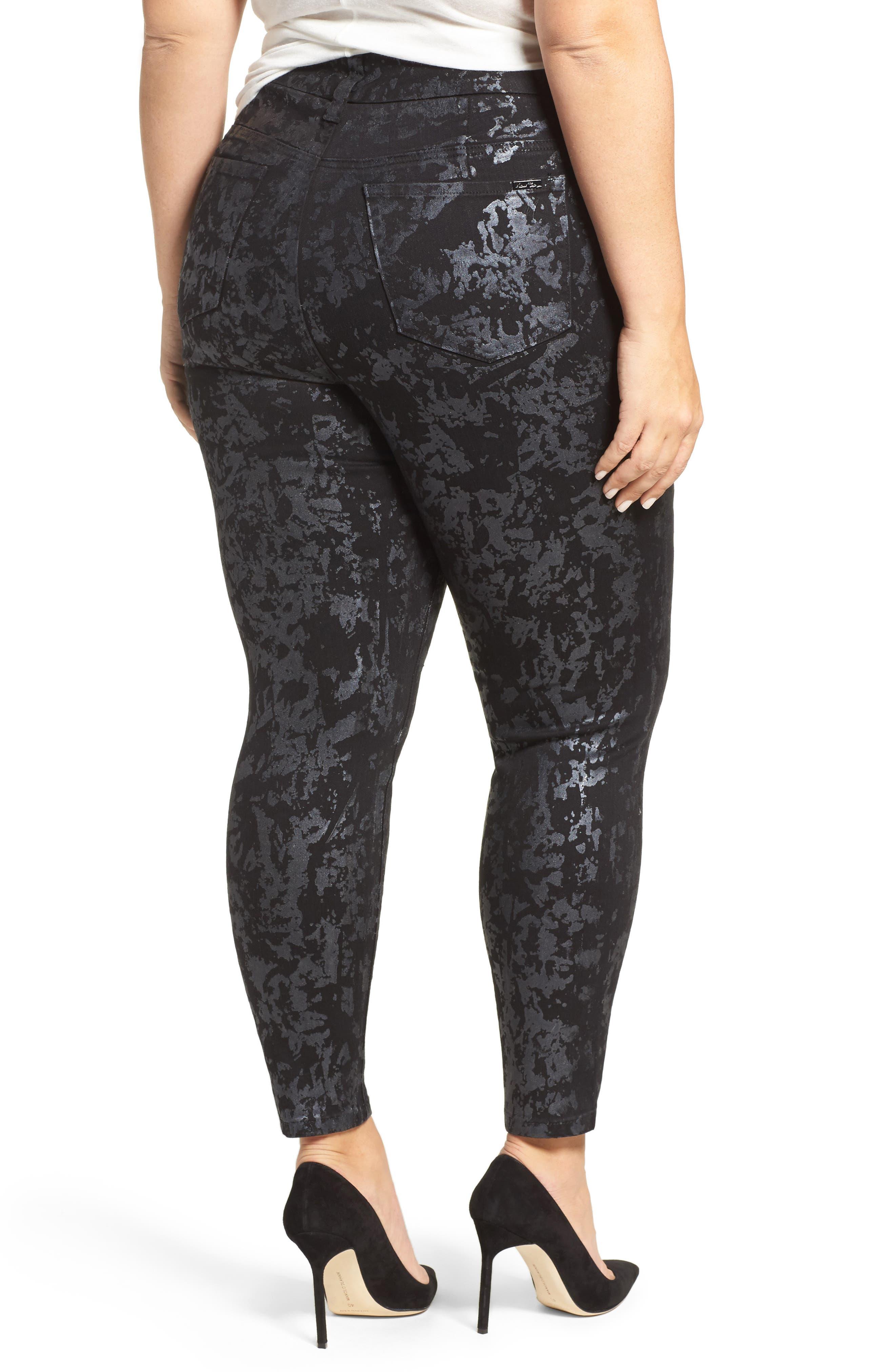 Alternate Image 2  - Melissa McCarthy Seven7 Stretch Foil Print Pencil Jeans (Plus Size)