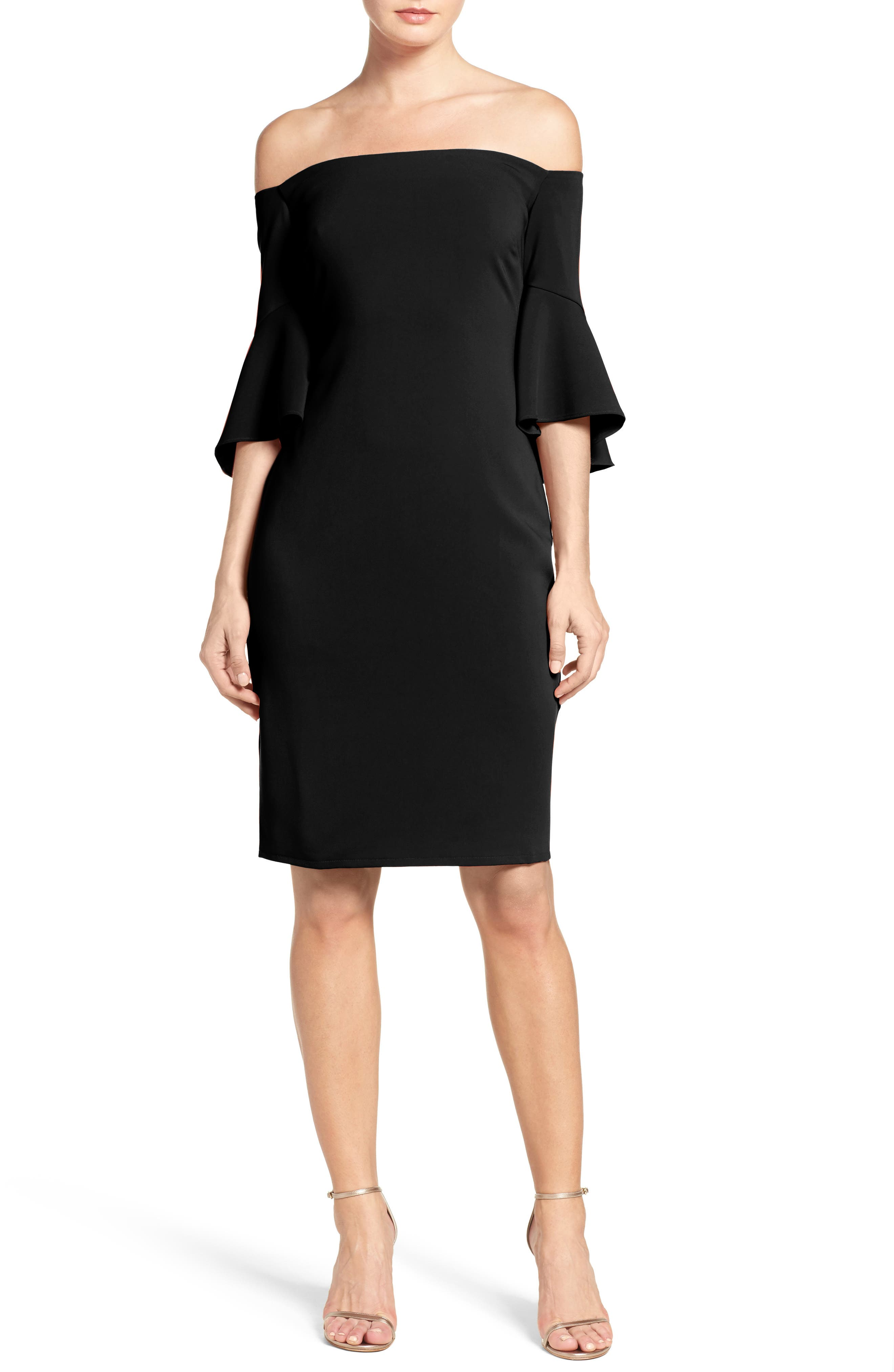 Alternate Image 1 Selected - Laundry by Shelli Segal Off the Shoulder Crepe Sheath Dress
