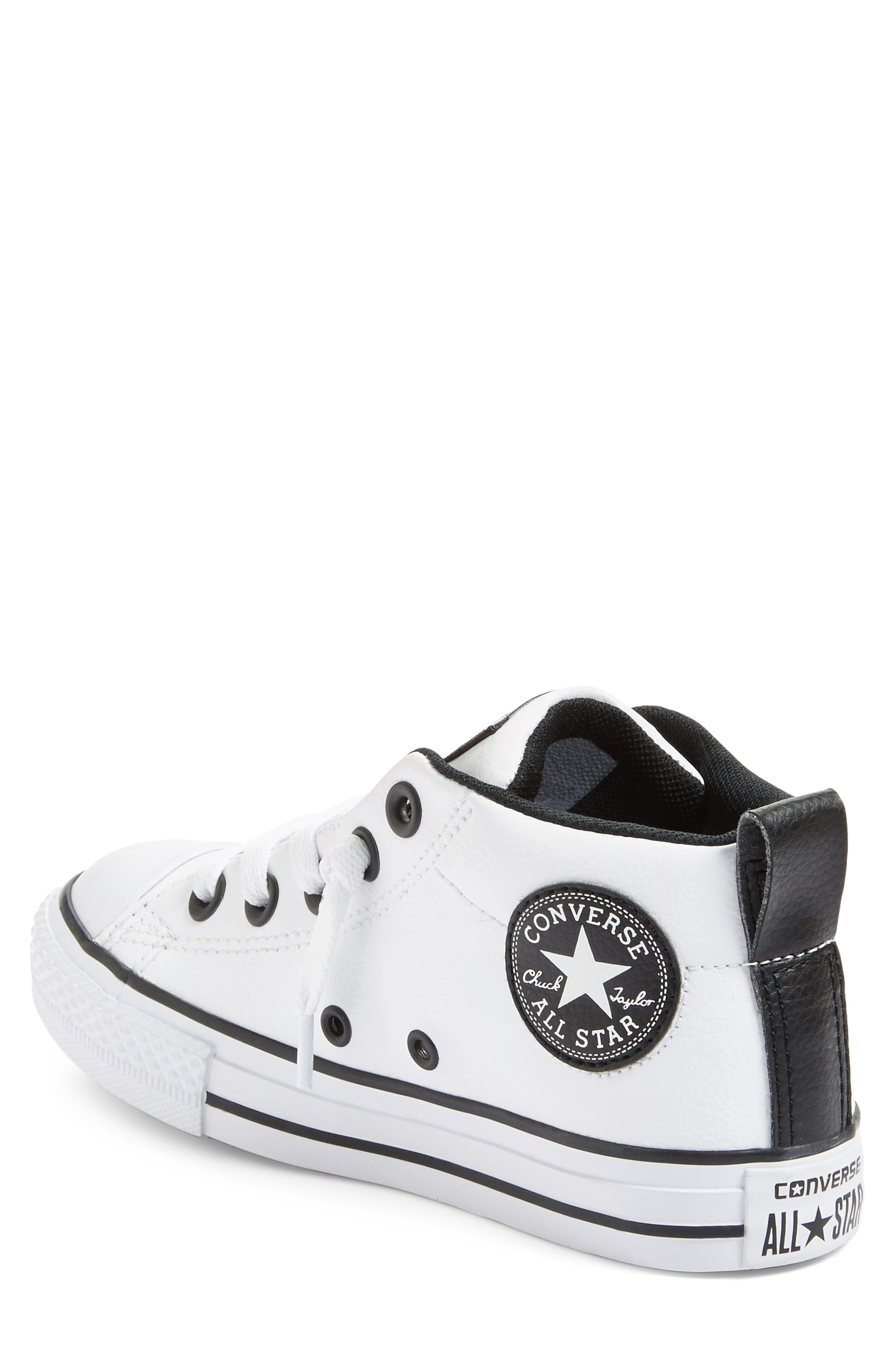 Chuck Taylor<sup>®</sup> All Star<sup>®</sup> Mid High Sneaker,                             Alternate thumbnail 2, color,                             White/ Black