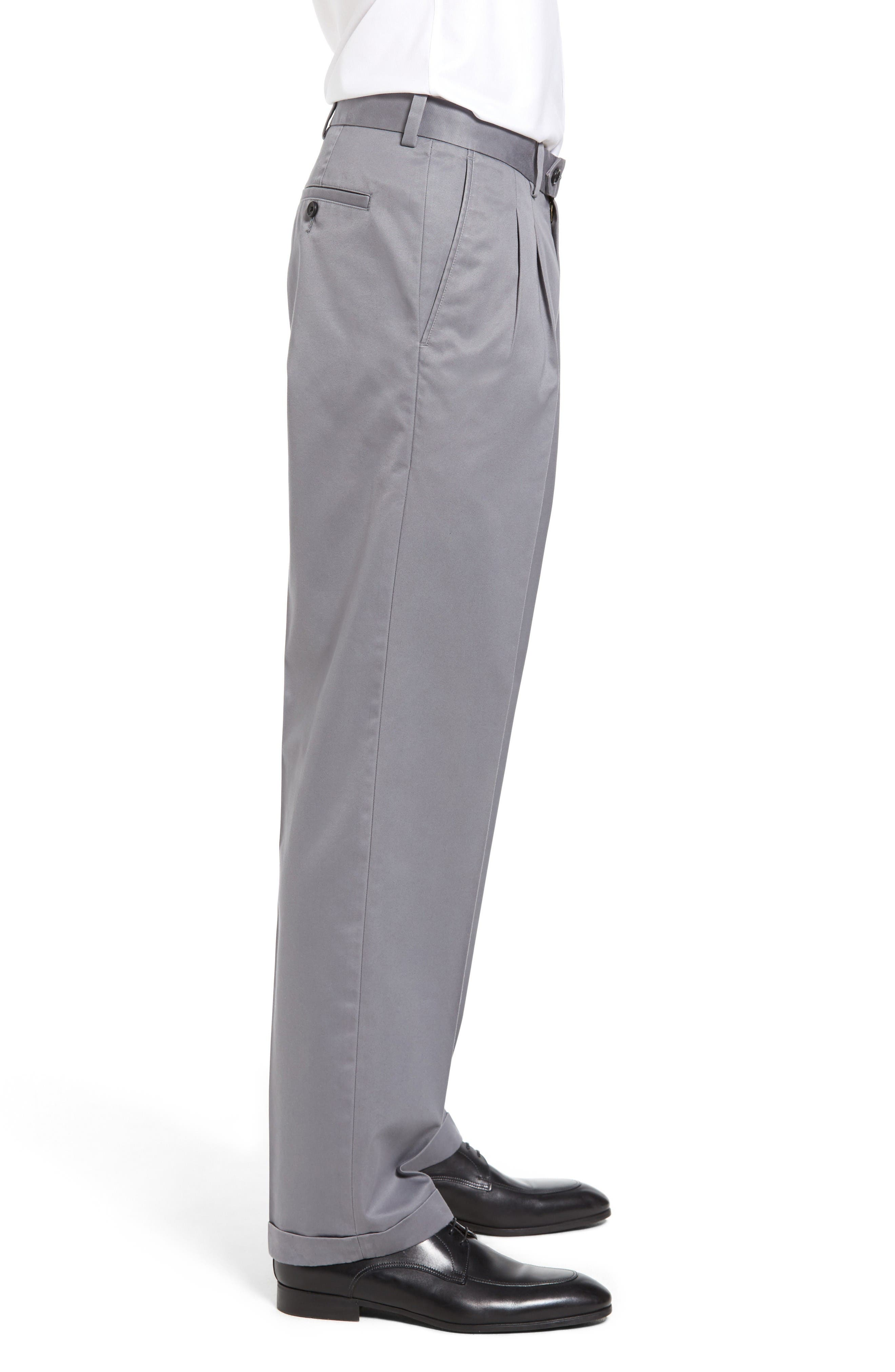 Classic Smartcare<sup>™</sup> Supima<sup>®</sup> Cotton Pleated Trousers,                             Alternate thumbnail 3, color,                             Grey Shade