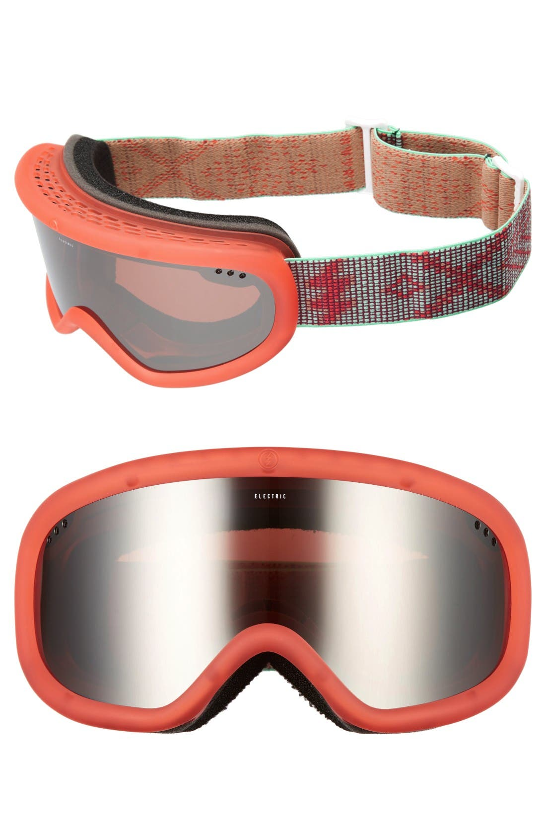 Charger 215mm Snow Goggles,                             Main thumbnail 1, color,                             Green/ Brose/ Silver