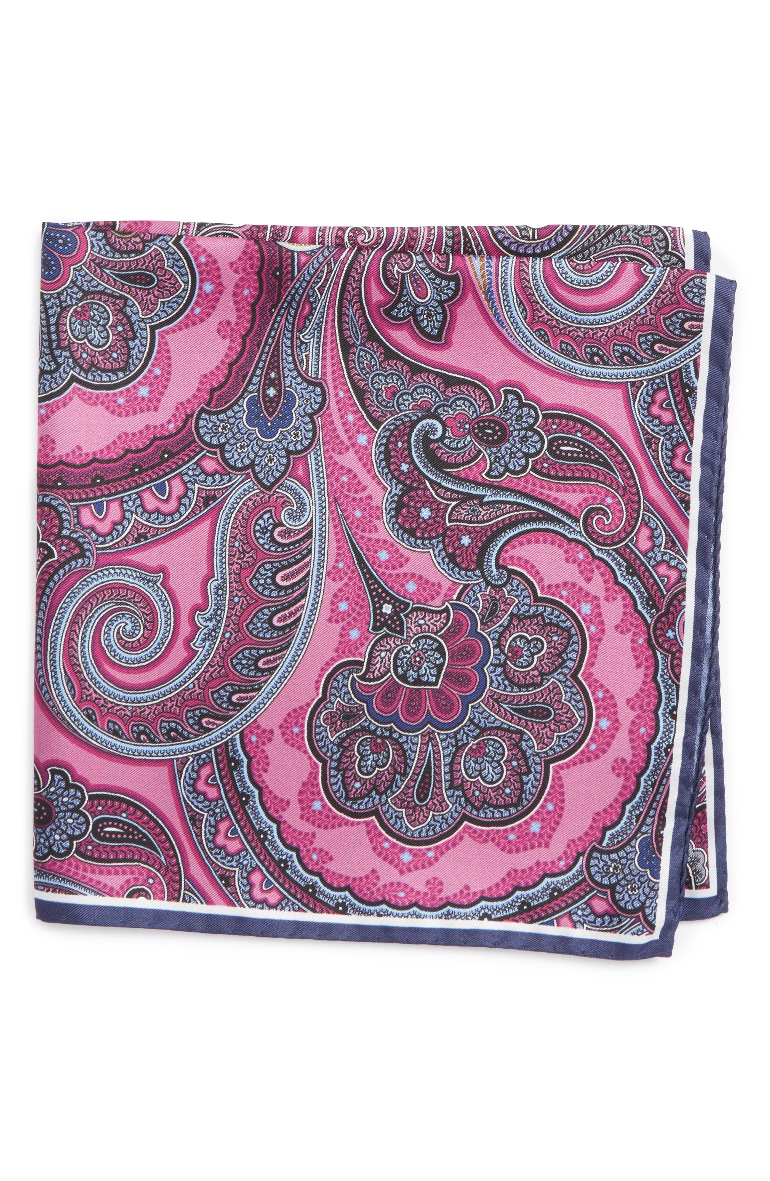 Paisley Silk Pocket Square,                             Main thumbnail 1, color,                             Pink