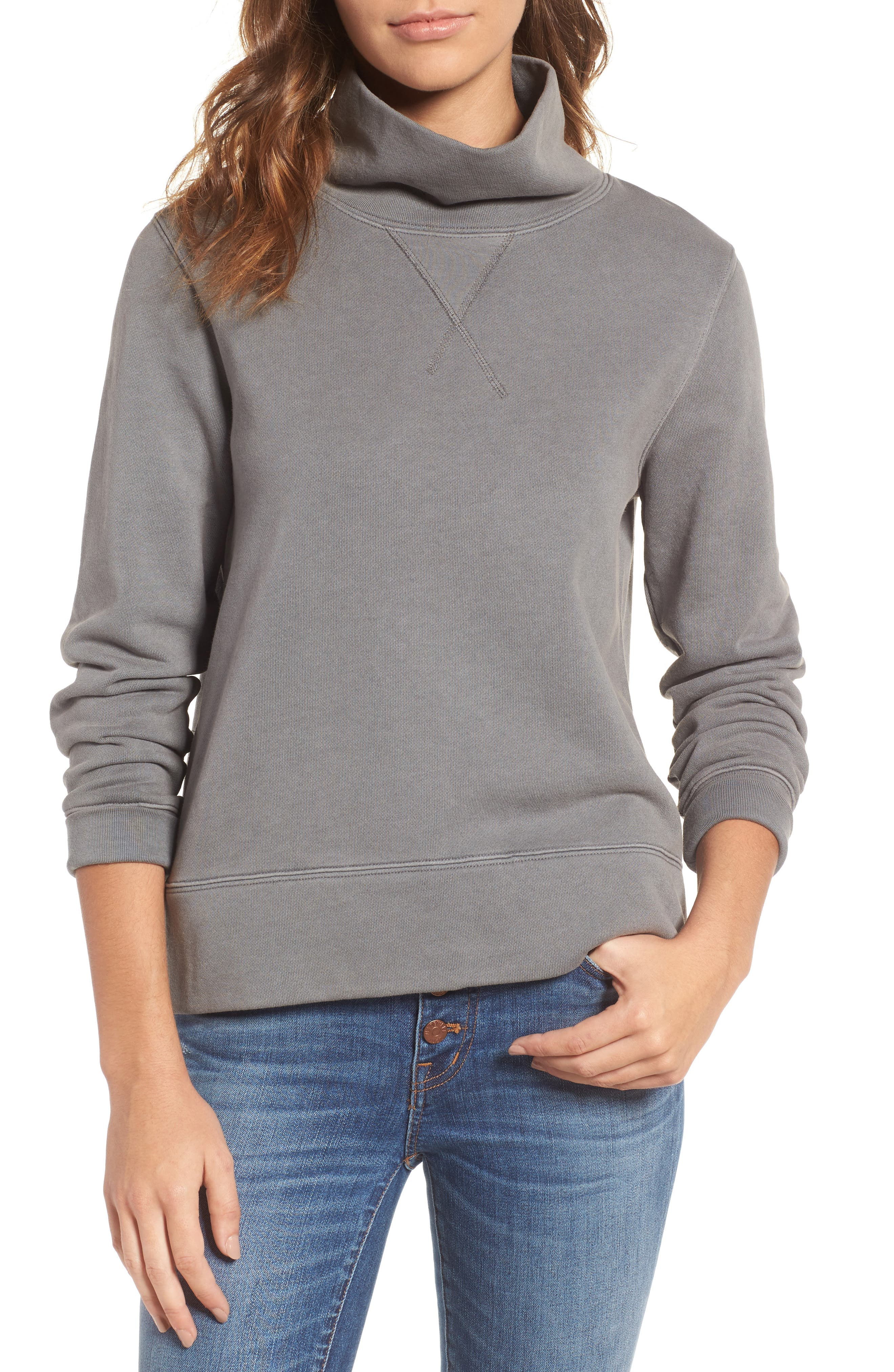 Madewell Garment Dyed Funnel Neck Sweatshirt