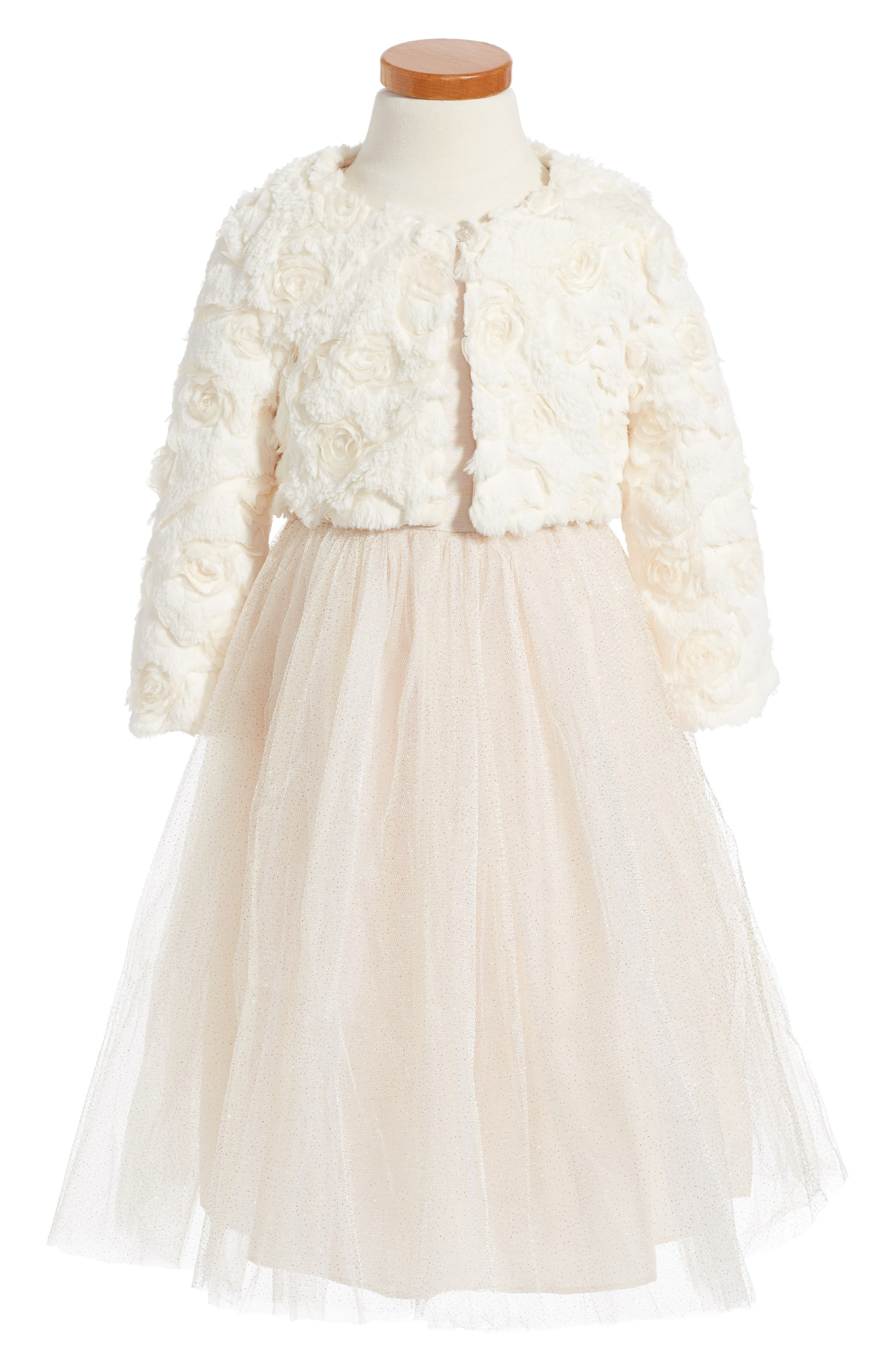 Alternate Image 1 Selected - Pippa & Julie Tulle Dress & Rosette Faux Fur Jacket (Toddler Girls, Little Girls & Big Girls)