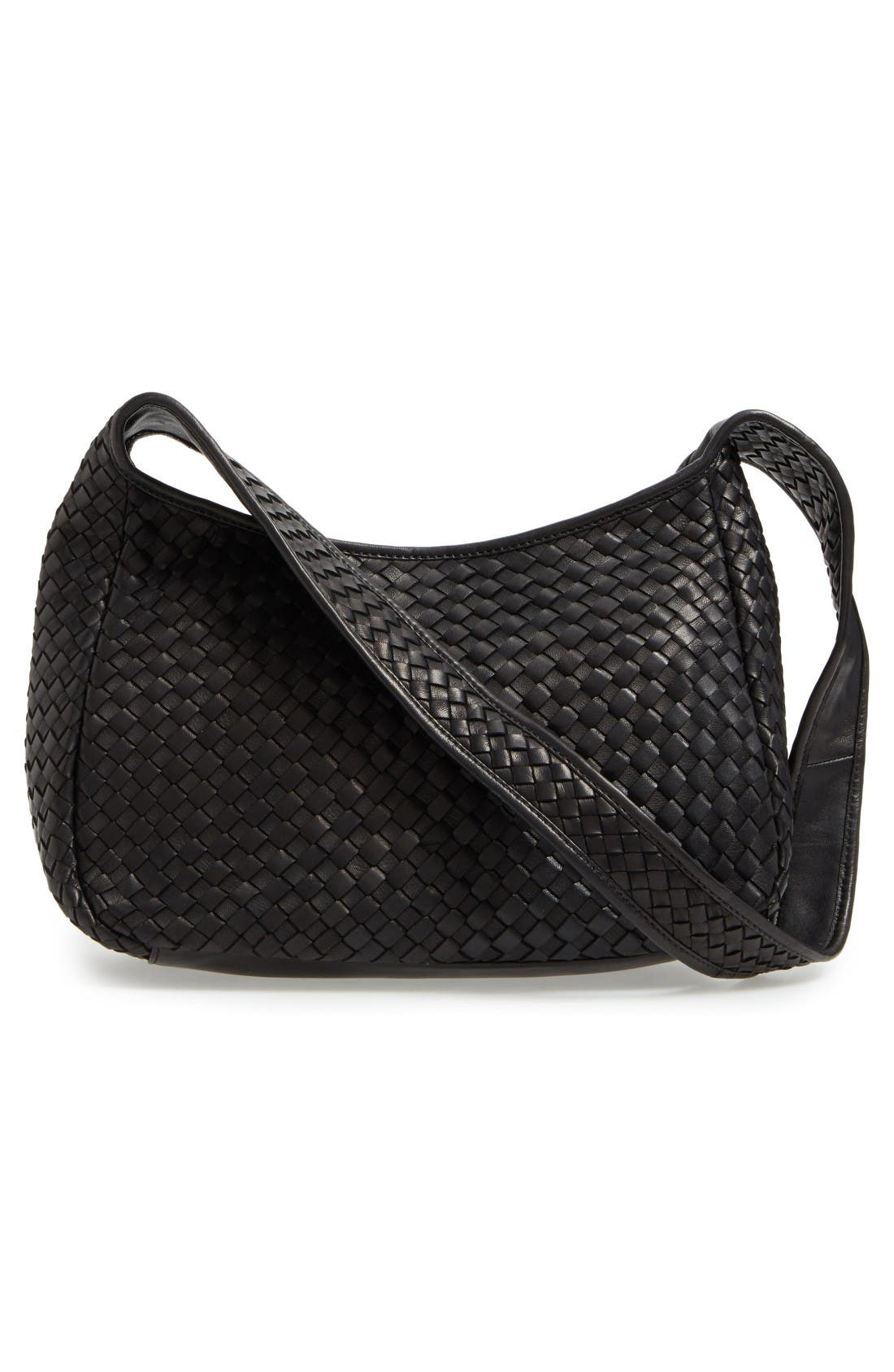 Small Delia Leather Hobo,                             Alternate thumbnail 3, color,                             Black