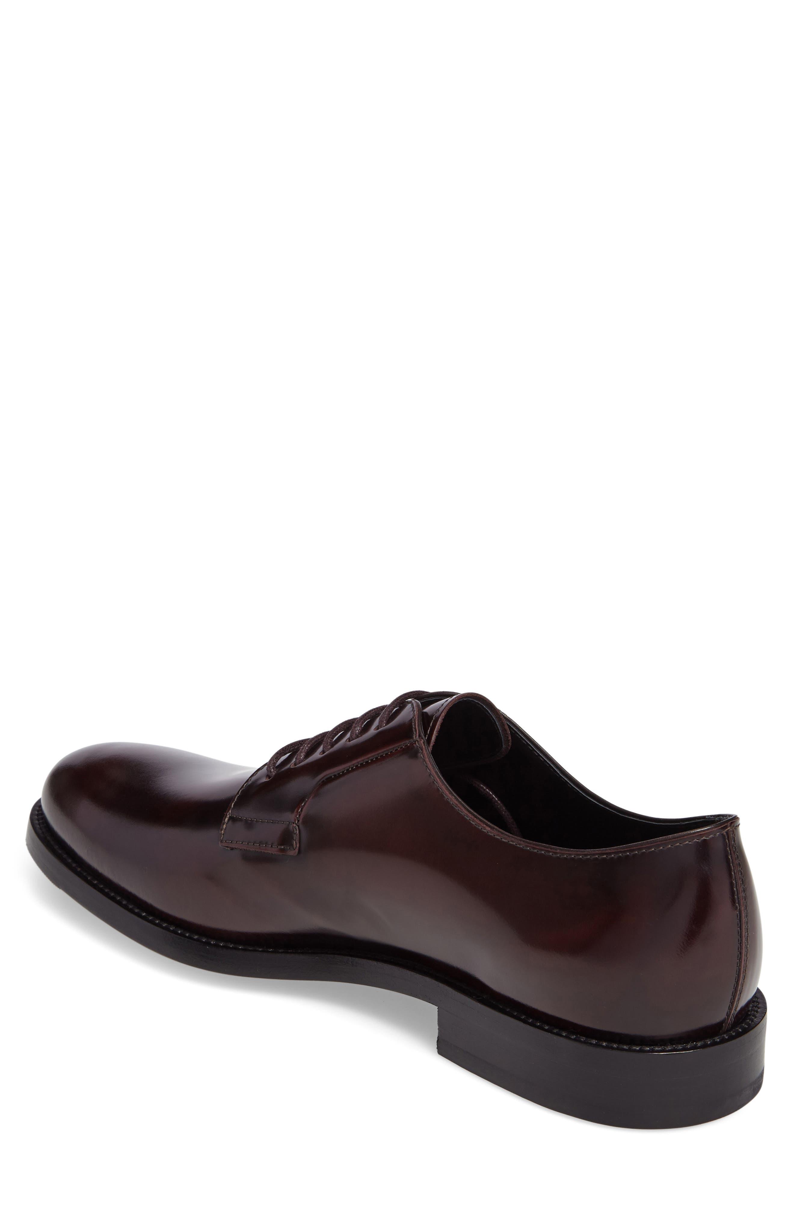 Plain Toe Derby,                             Alternate thumbnail 2, color,                             Burgundy Leather
