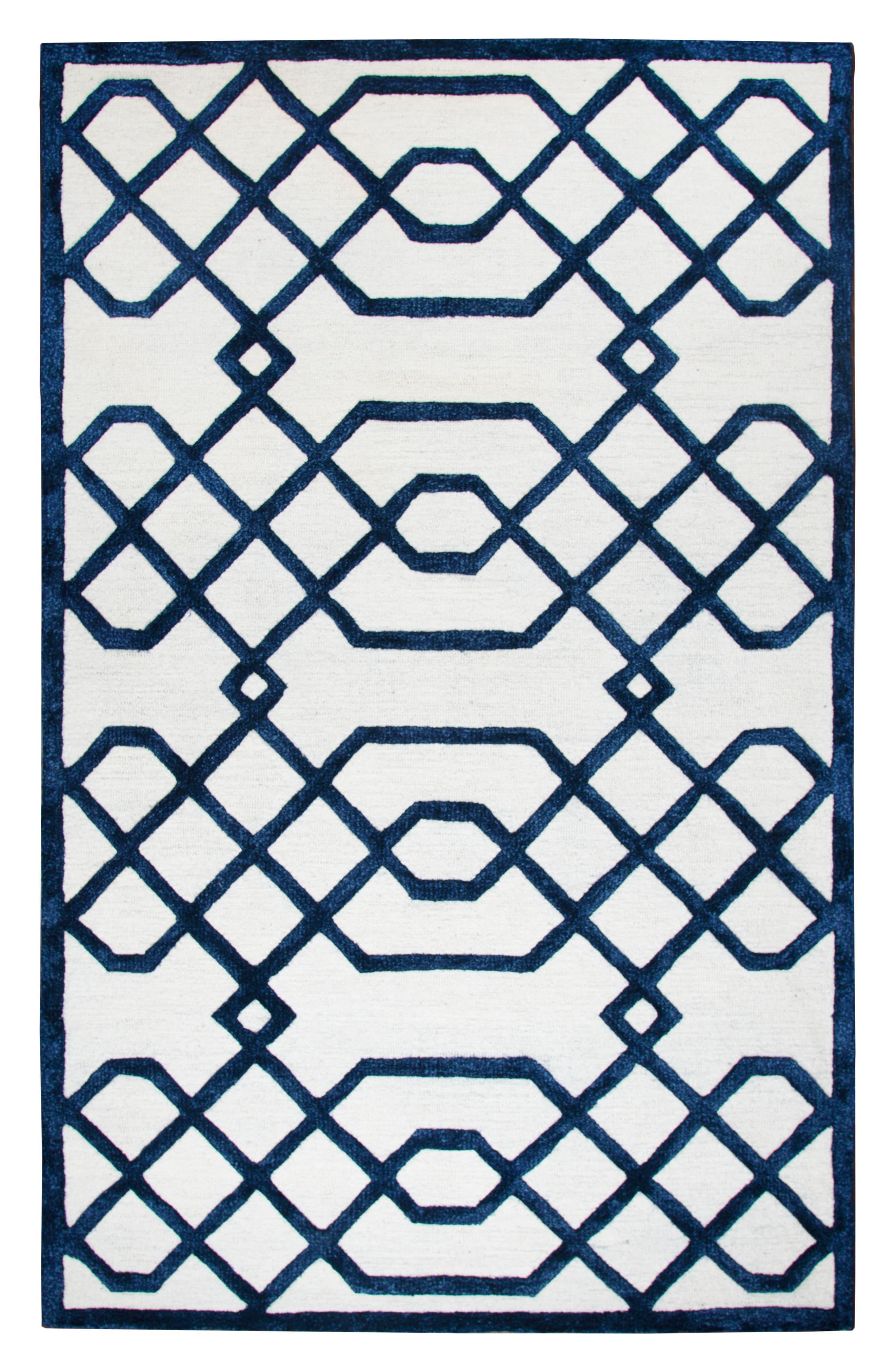 Lattice Scroll Hand Tufted Wool Area Rug,                         Main,                         color, Blue/ White