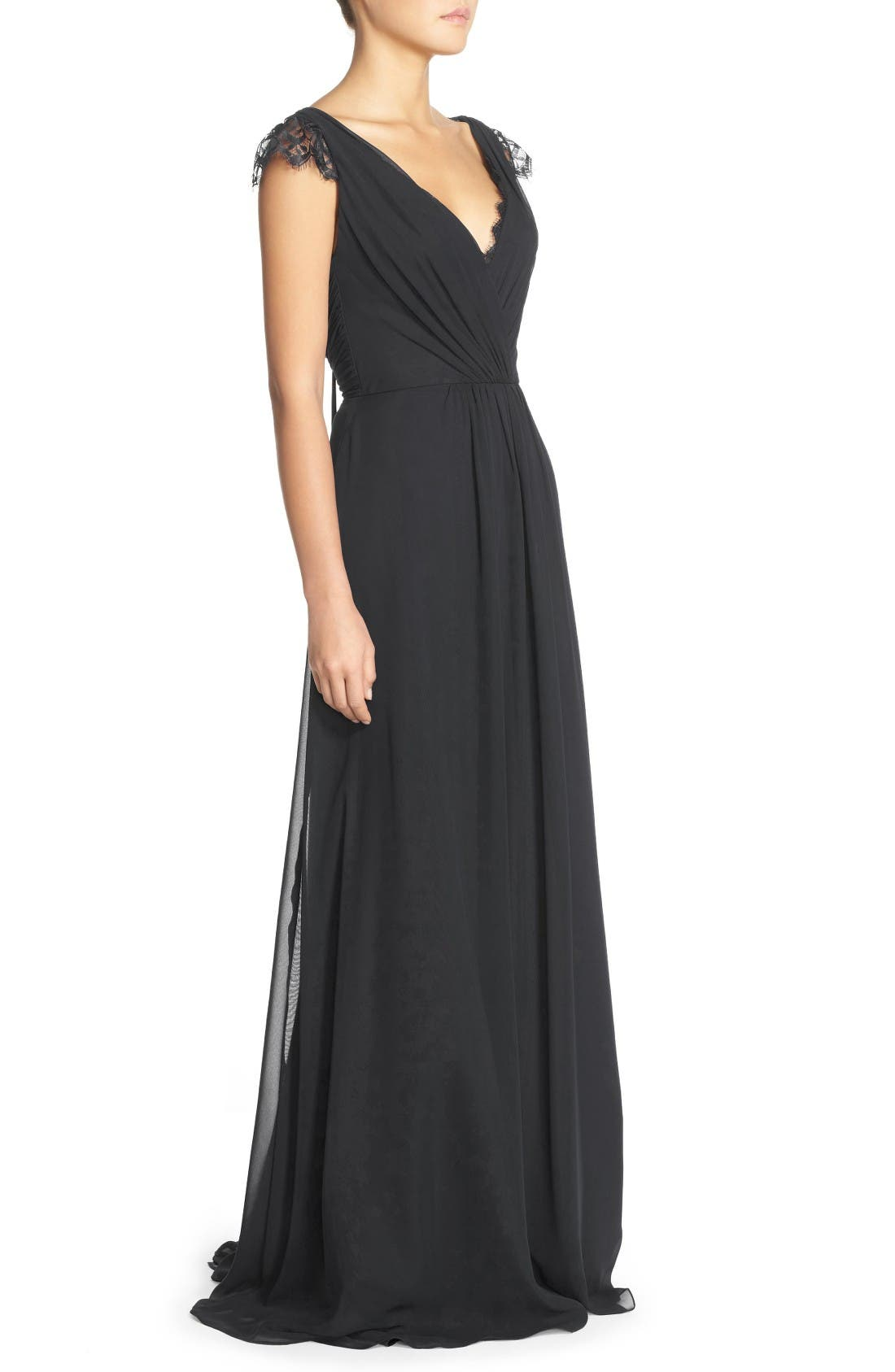 Alternate Image 3  - Hayley Paige Occasions Lace & Chiffon Cap Sleeve Gown