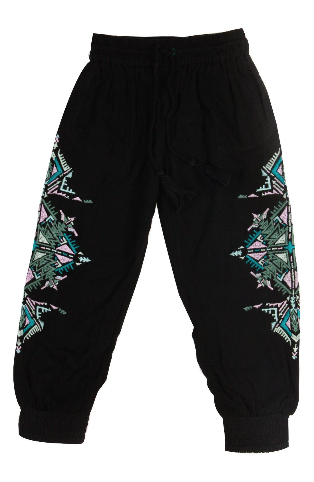 BOWIE X JAMES Running Deer Embroidered Pants (Toddler Girls, Little Girls & Big Girls)