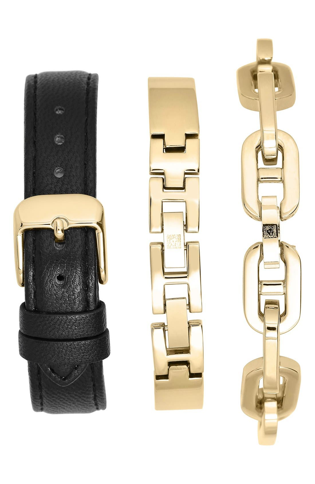 Alternate Image 2  - Anne Klein Crystal Detail Leather Strap Watch & Bracelets Set, 26mm