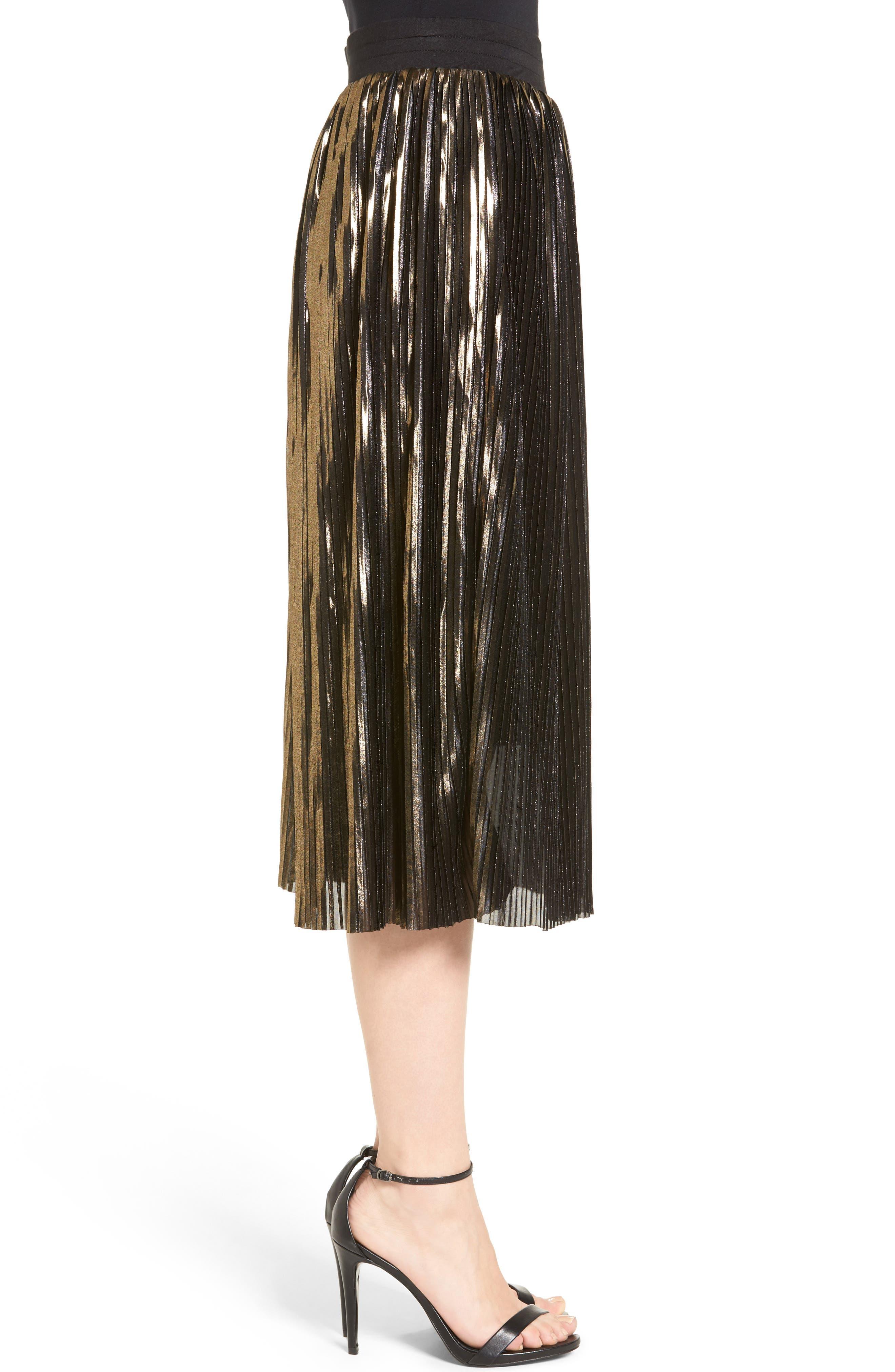 Alternate Image 3  - Trouvé Shine Pleat Midi Skirt