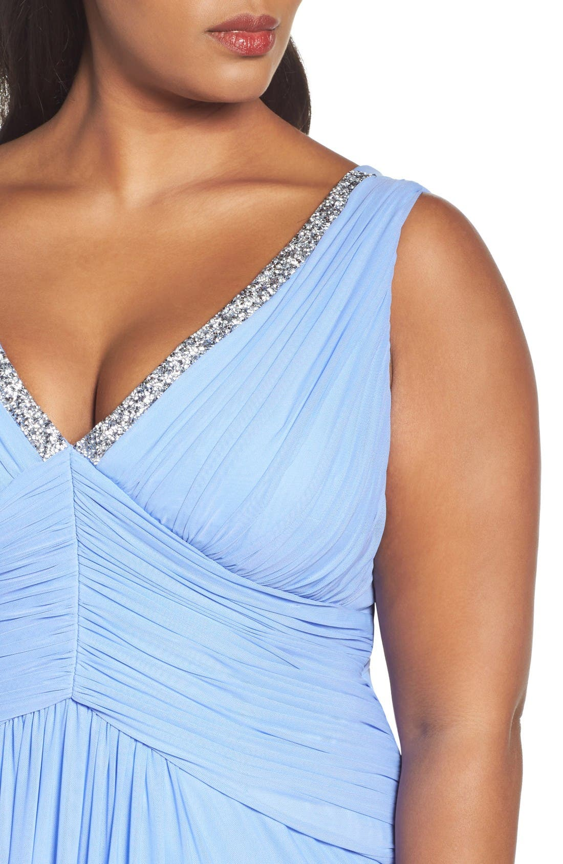 Beaded V-Neck Pleat Mesh Gown,                             Alternate thumbnail 4, color,                             Periwinkle