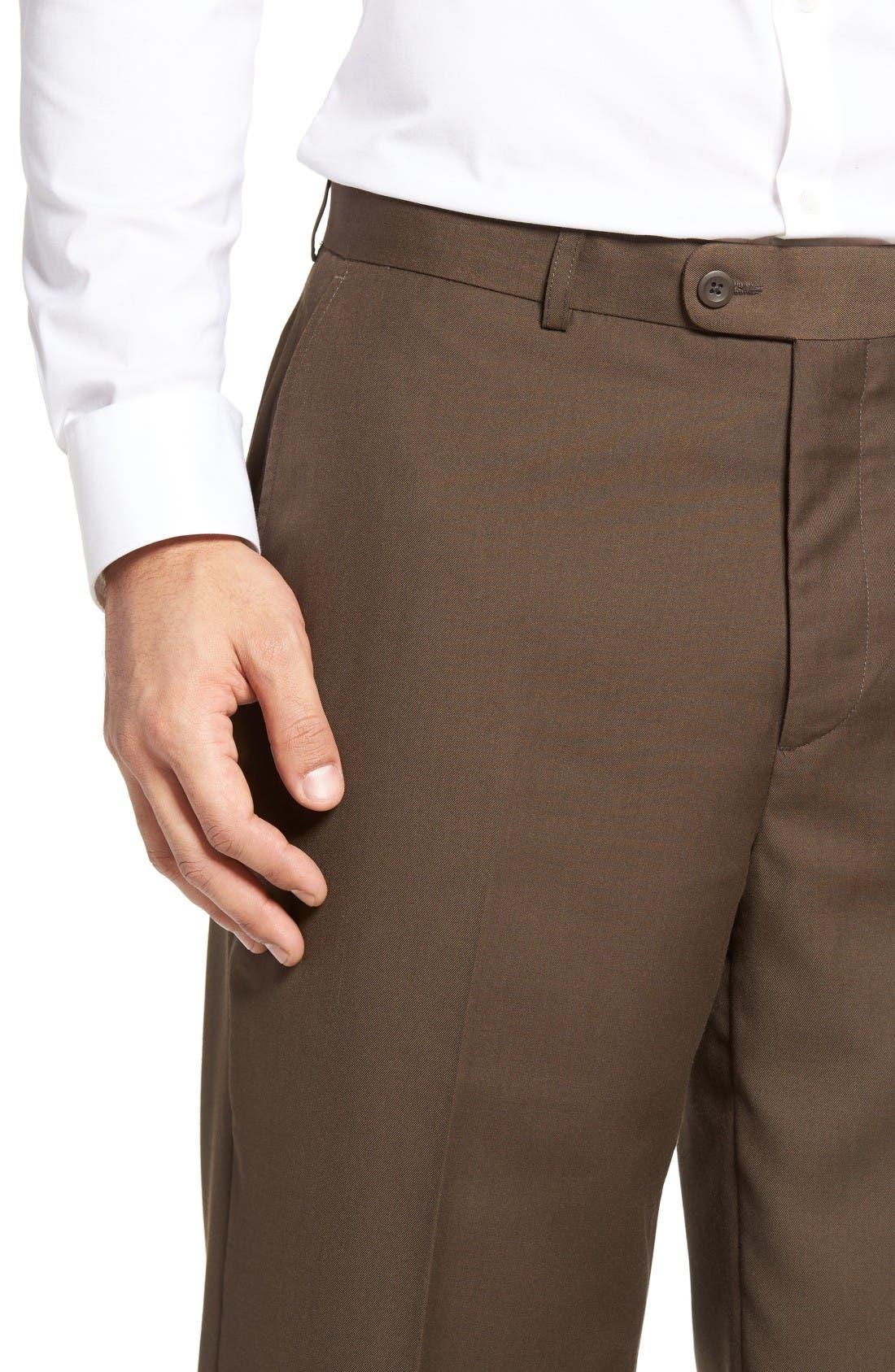 'Travel Genius - Hawk' Flat Front Pants,                             Alternate thumbnail 4, color,                             Brown