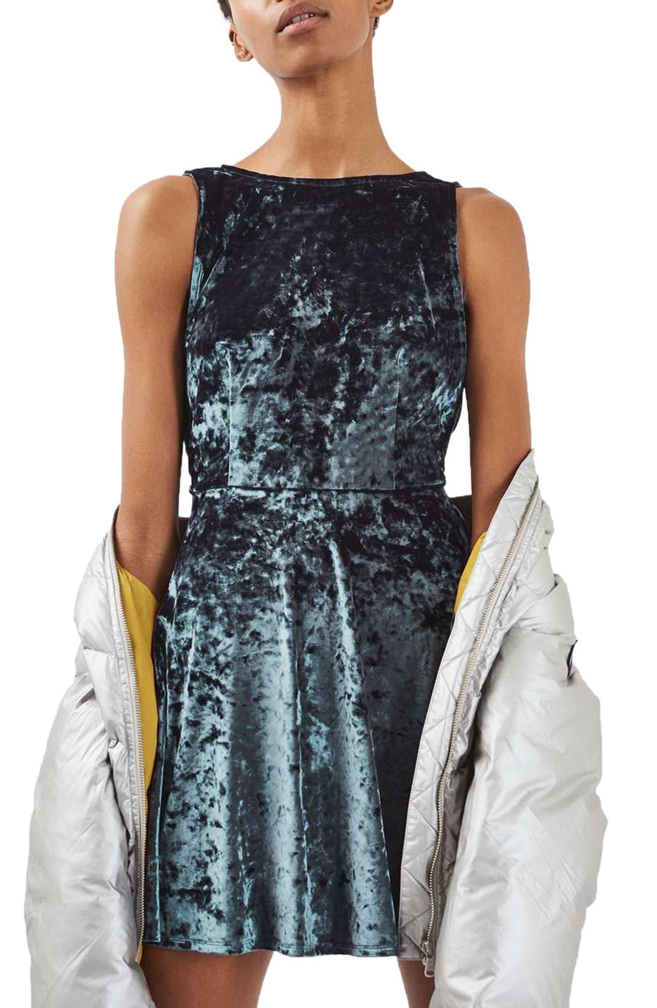 Main Image - Topshop Low Back Velvet Dress (Petite)