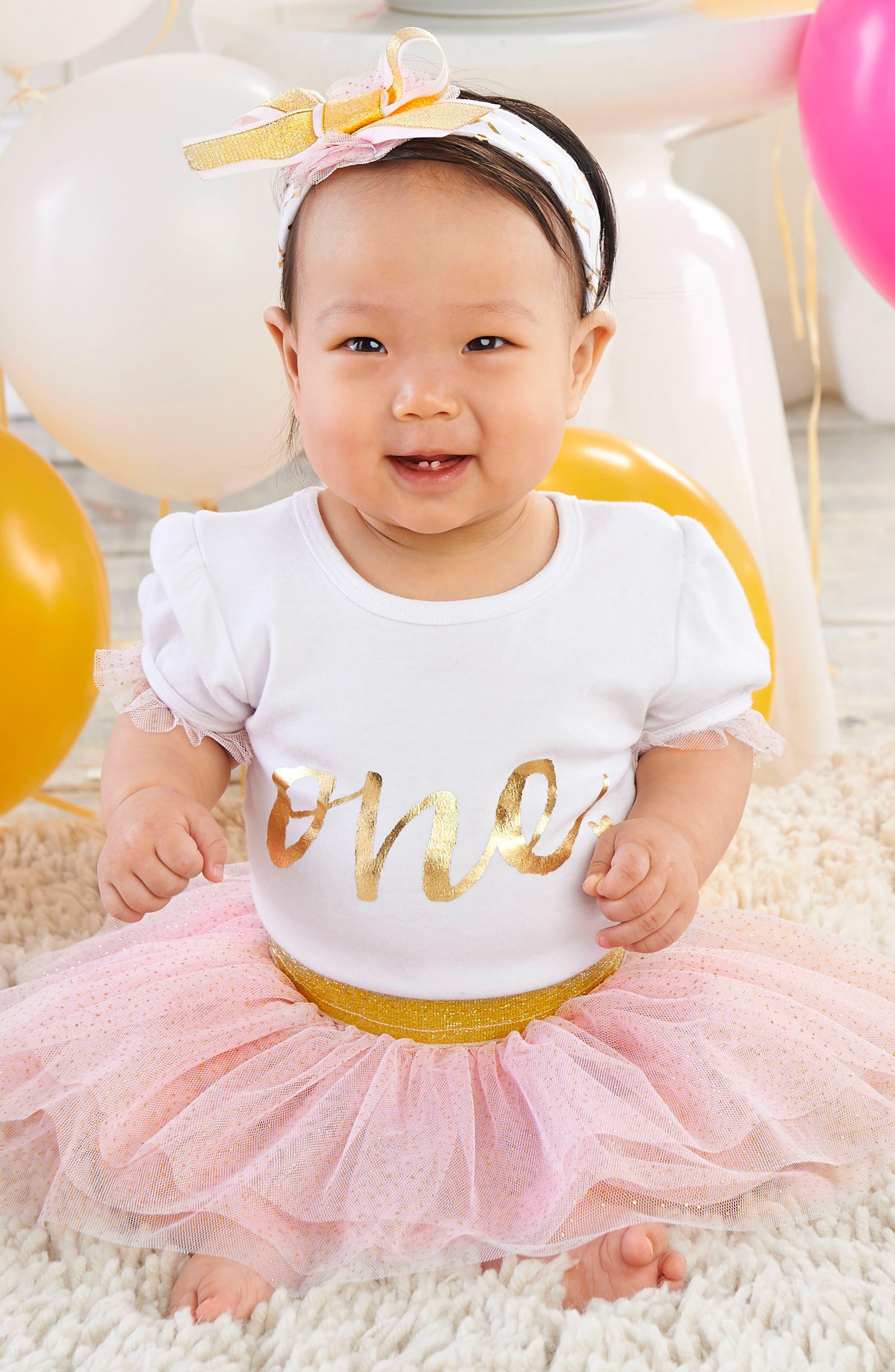 Baby Aspen My First Birthday Bodysuit, Tutu and Head Wrap Set (Baby Girls)