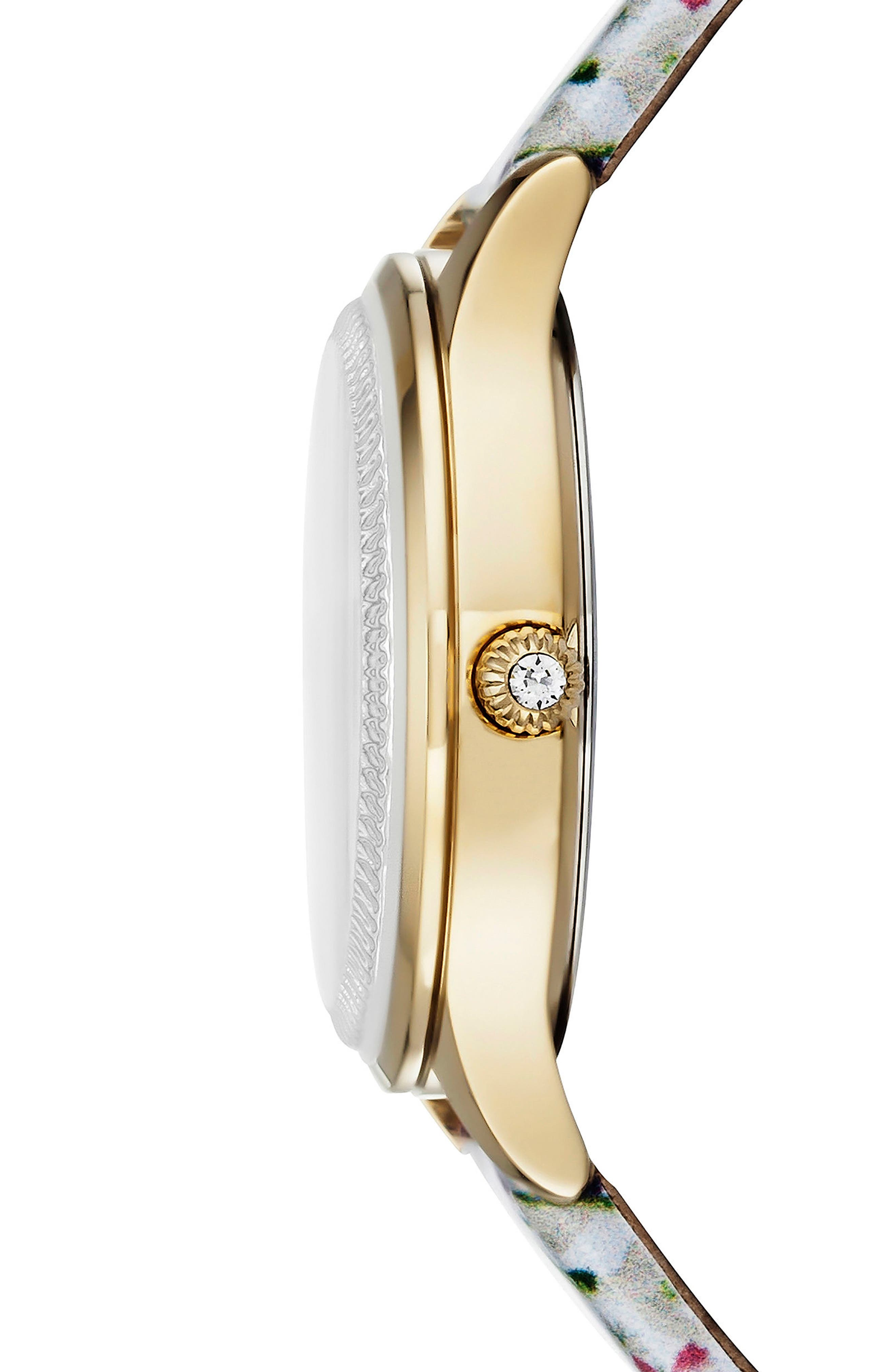 Alternate Image 3  - Ted Baker London Zoe Round Leather Strap Watch, 32mm