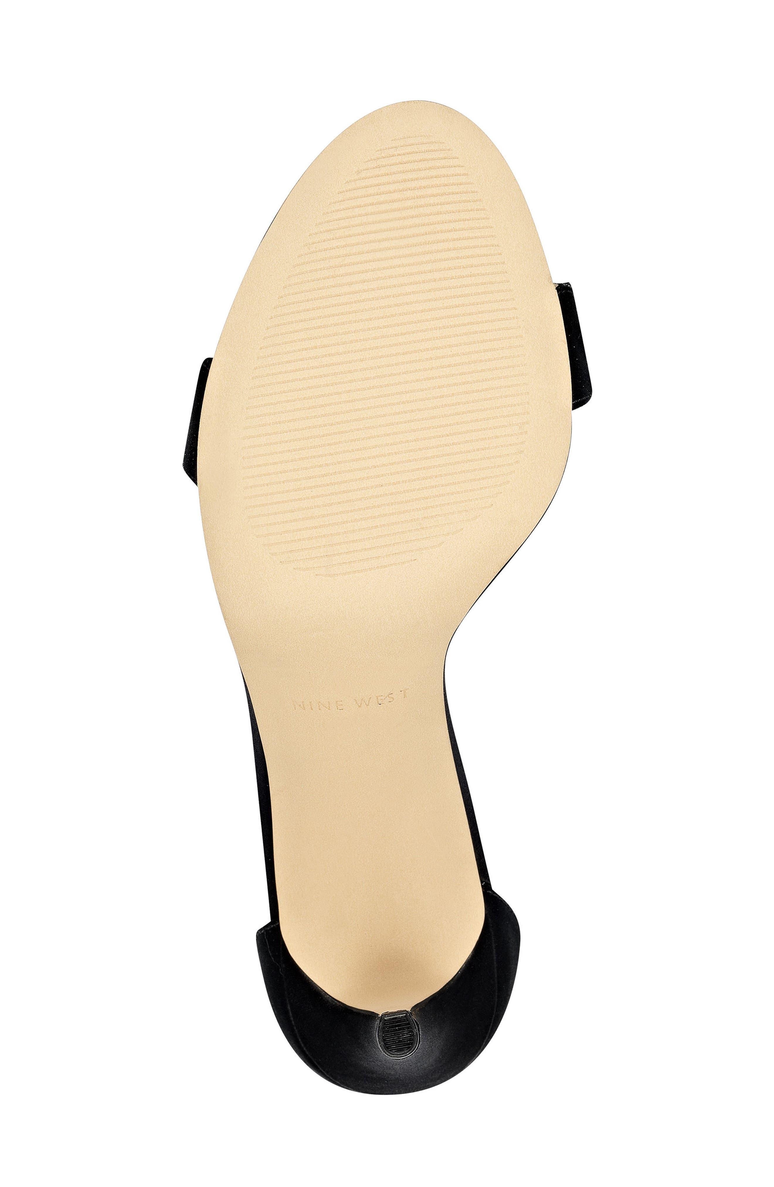'Mana' Ankle Strap Sandal,                             Alternate thumbnail 4, color,                             Black Satin