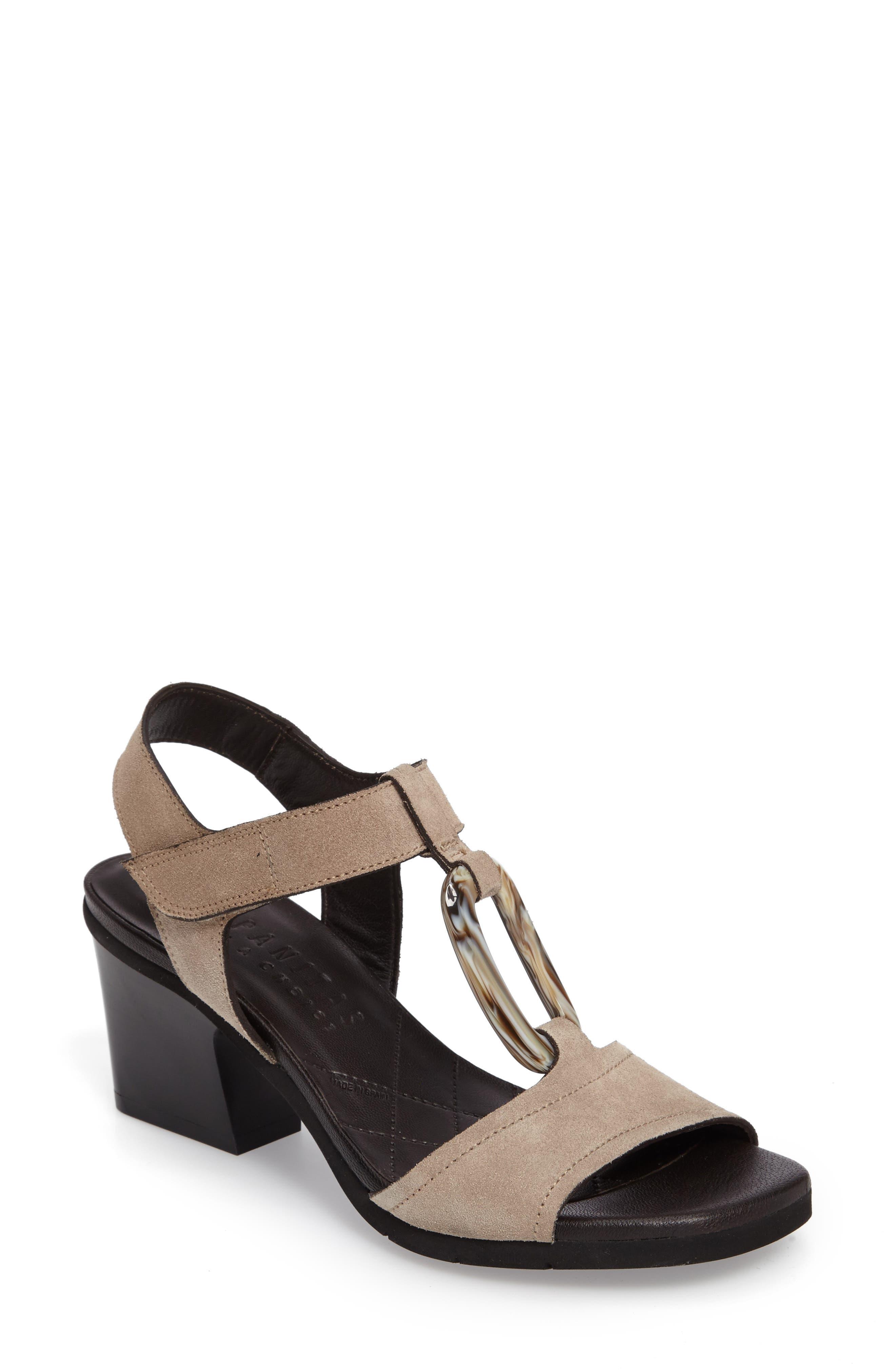 Ursula Ringed T-Strap Sandal,                             Main thumbnail 1, color,                             Velour Elm Fabric