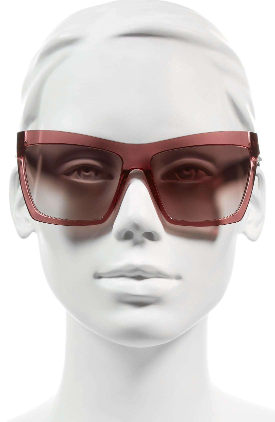 60mm Oversize Sunglasses,                             Alternate thumbnail 2, color,                             Red/ Green/ Silver/ Red
