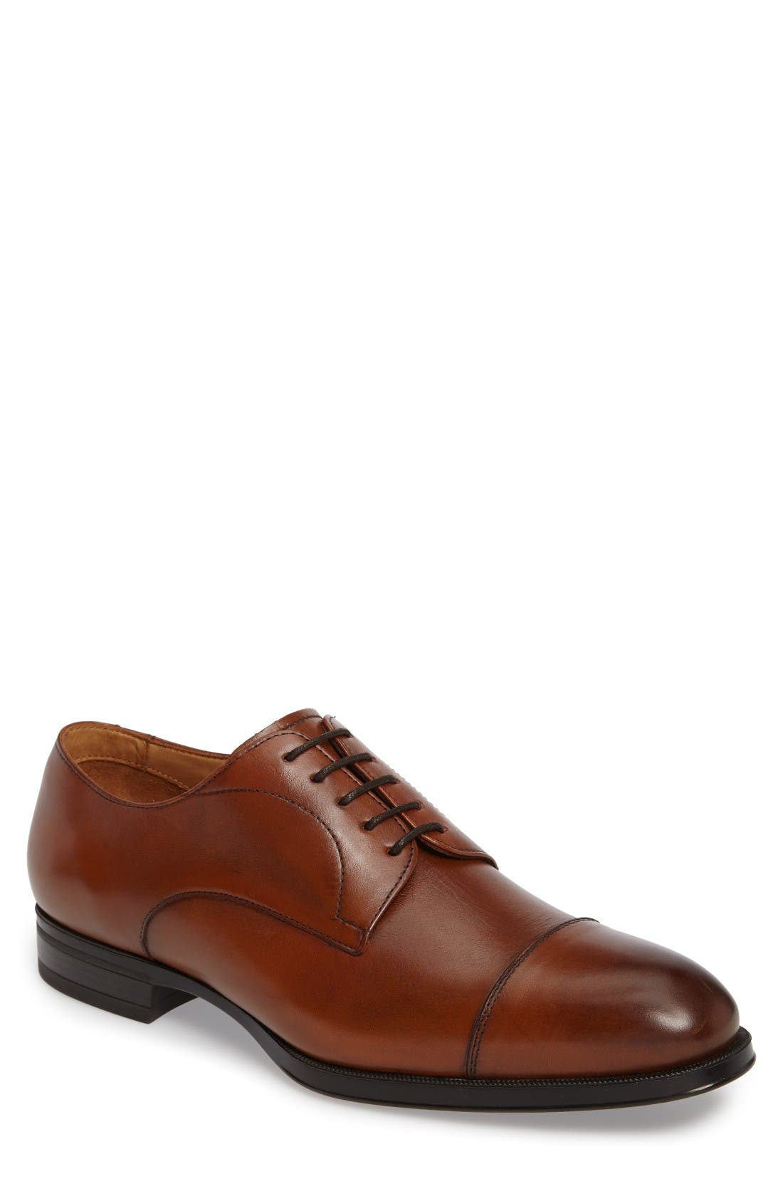 Tosto Cap Toe Derby,                         Main,                         color, Luggage Leather