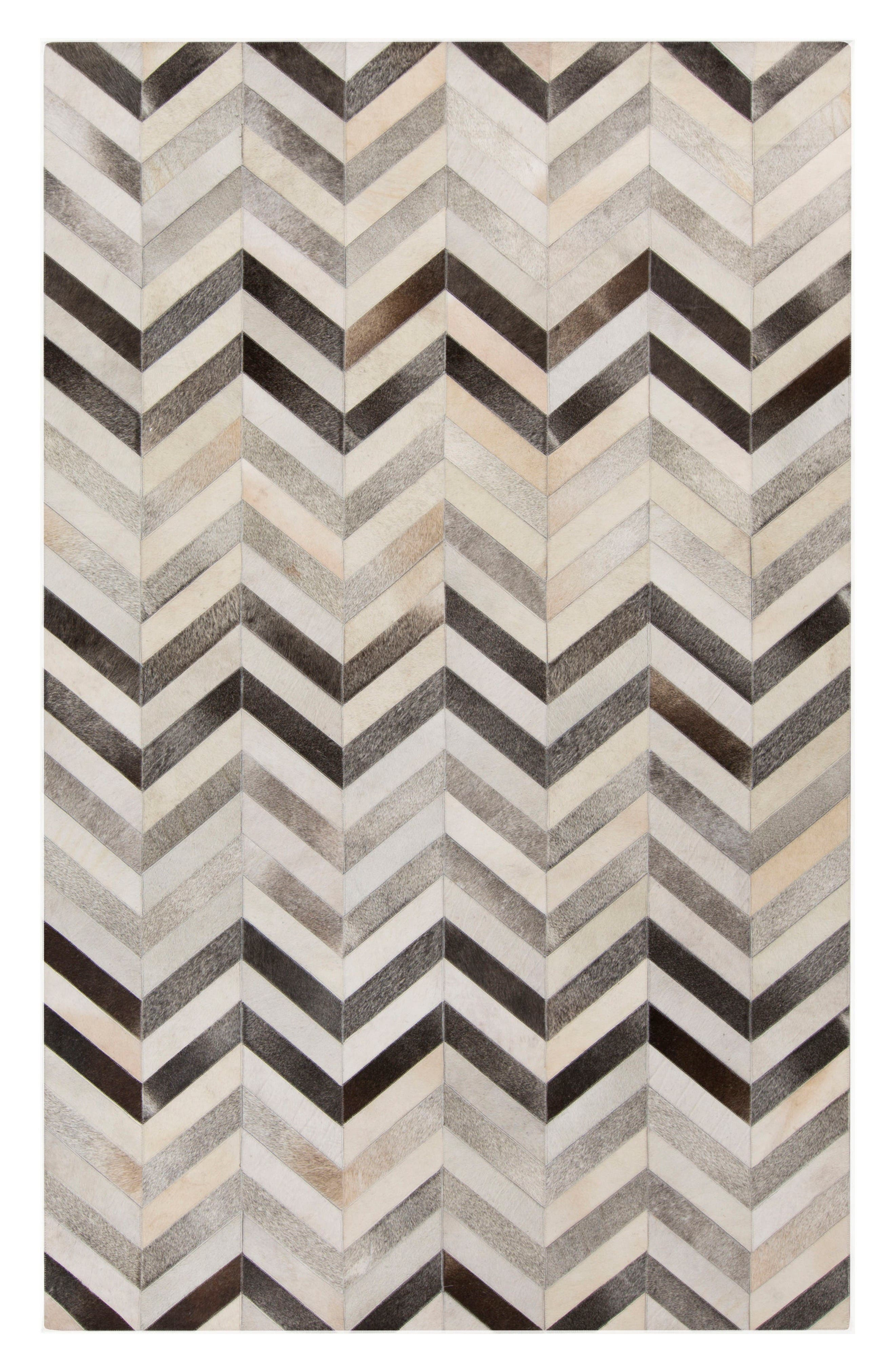 Trail Chevron Hand Stitched Calf Hair Rug,                         Main,                         color, Ivory/ Grey