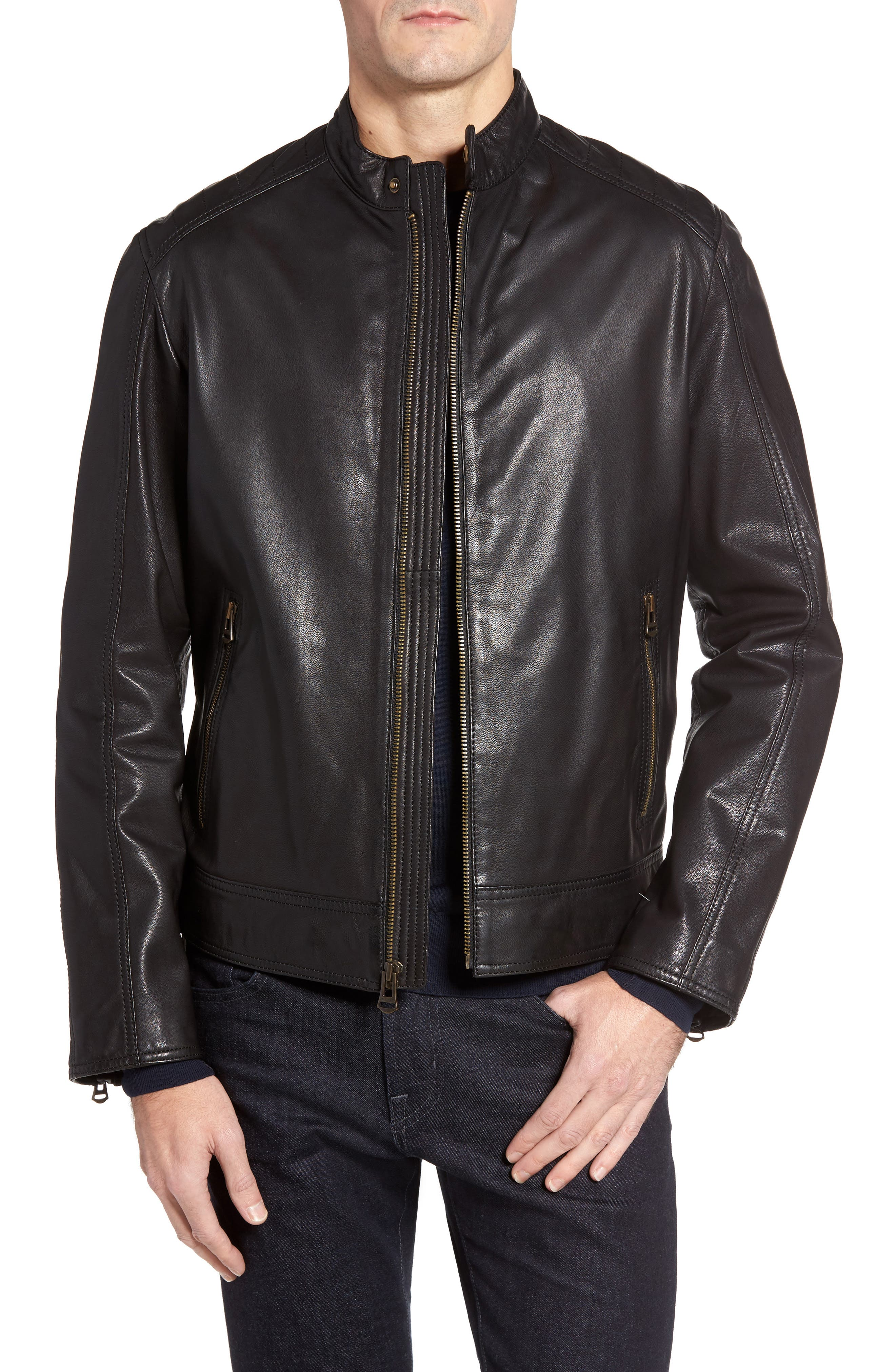Main Image - Cole Haan Washed Leather Moto Jacket