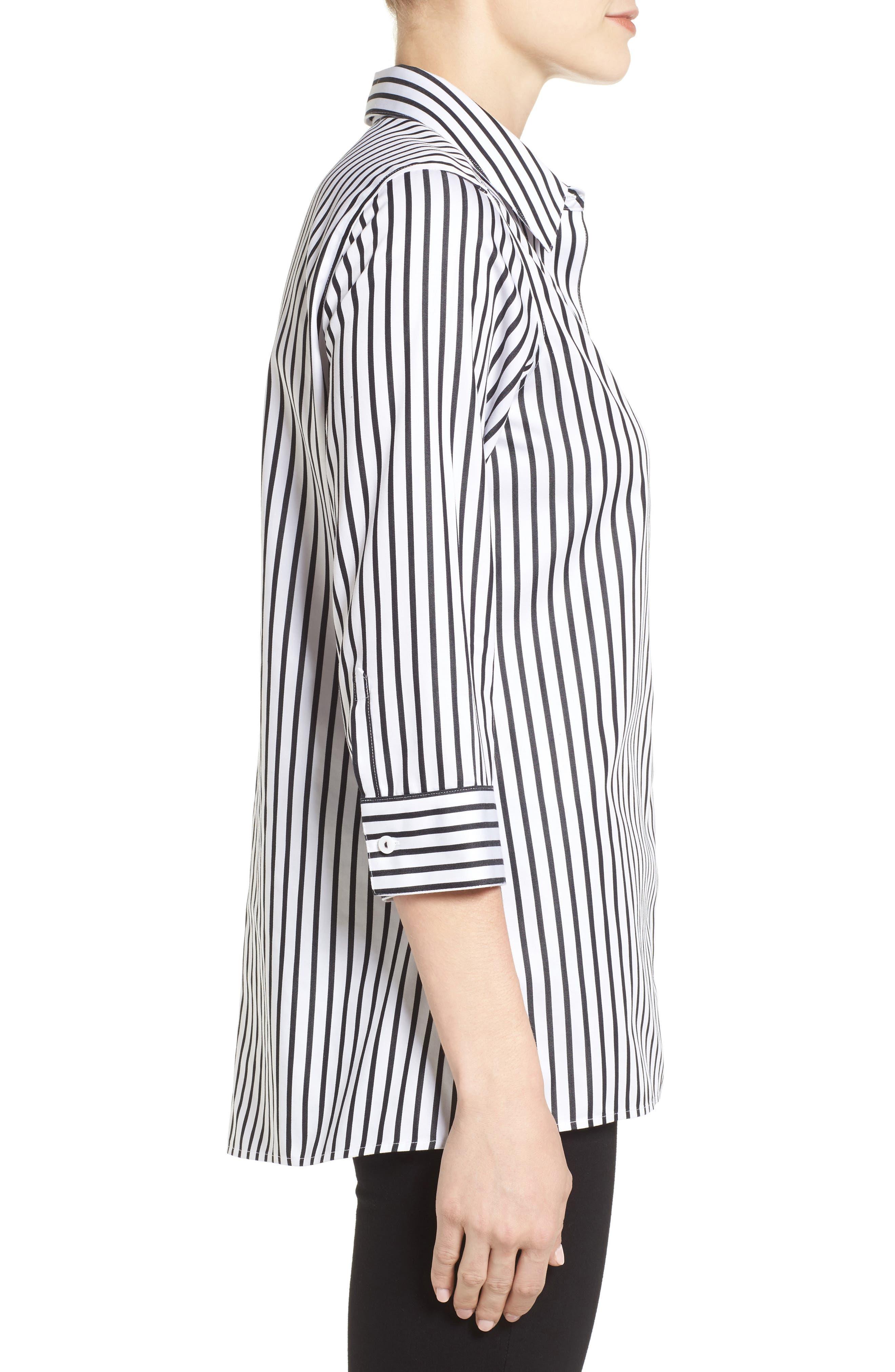 Alternate Image 3  - Foxcroft Gigi Non-Iron Stripe Sateen Tunic Shirt