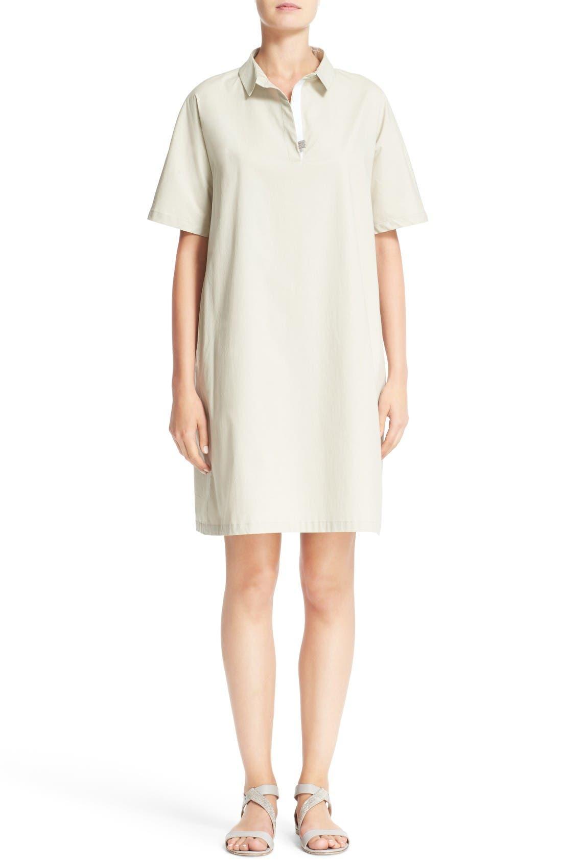 Grosgrain Trim Shirtdress,                         Main,                         color, Beige