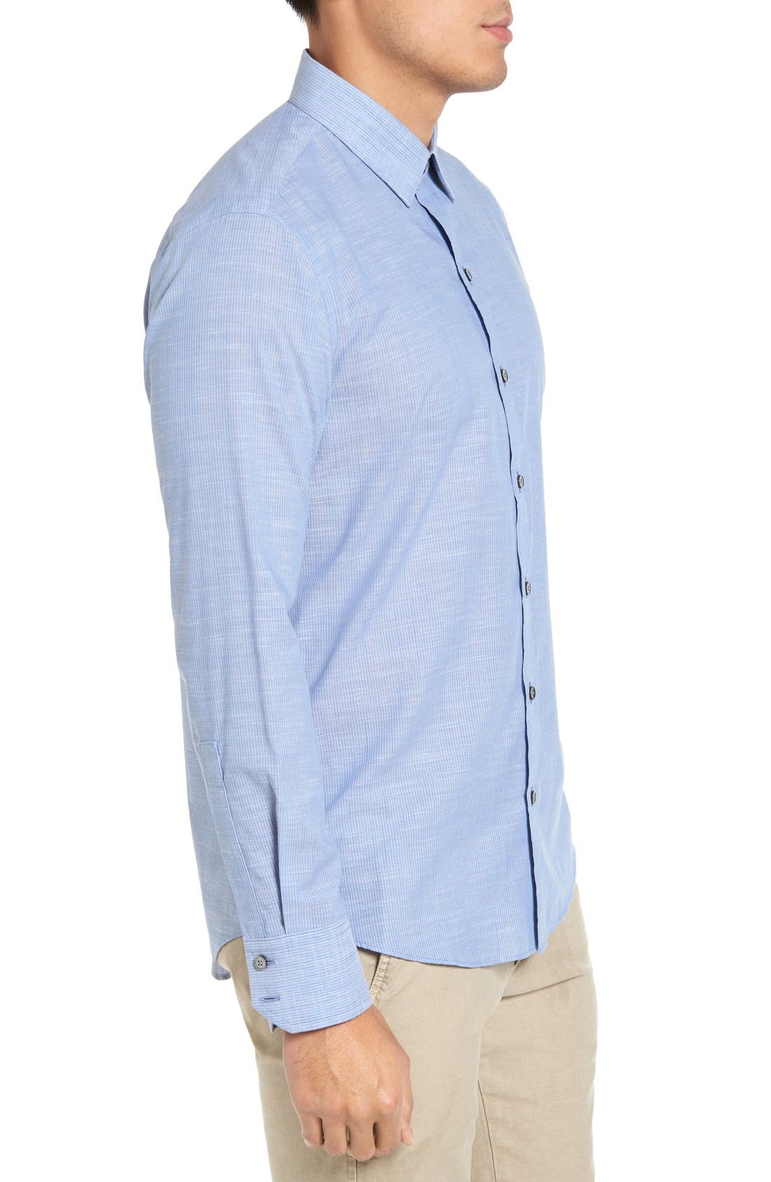 Ronan Trim Fit Stripe Sport Shirt,                             Alternate thumbnail 3, color,                             Blue