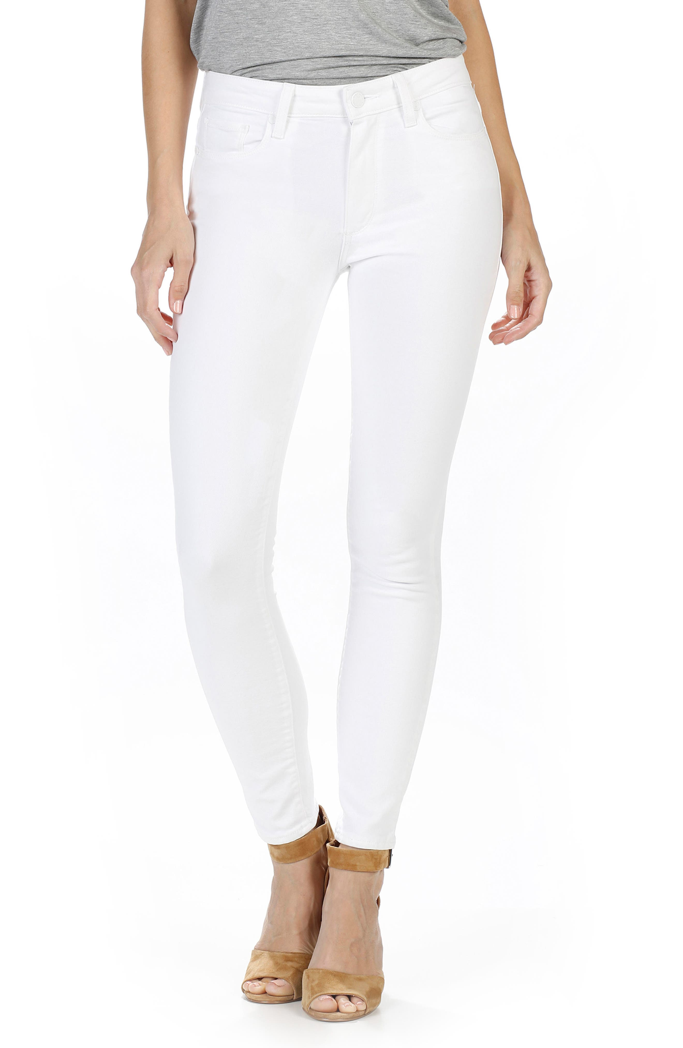 PAIGE Hoxton High Waist Ankle Skinny Jeans (Optic White)