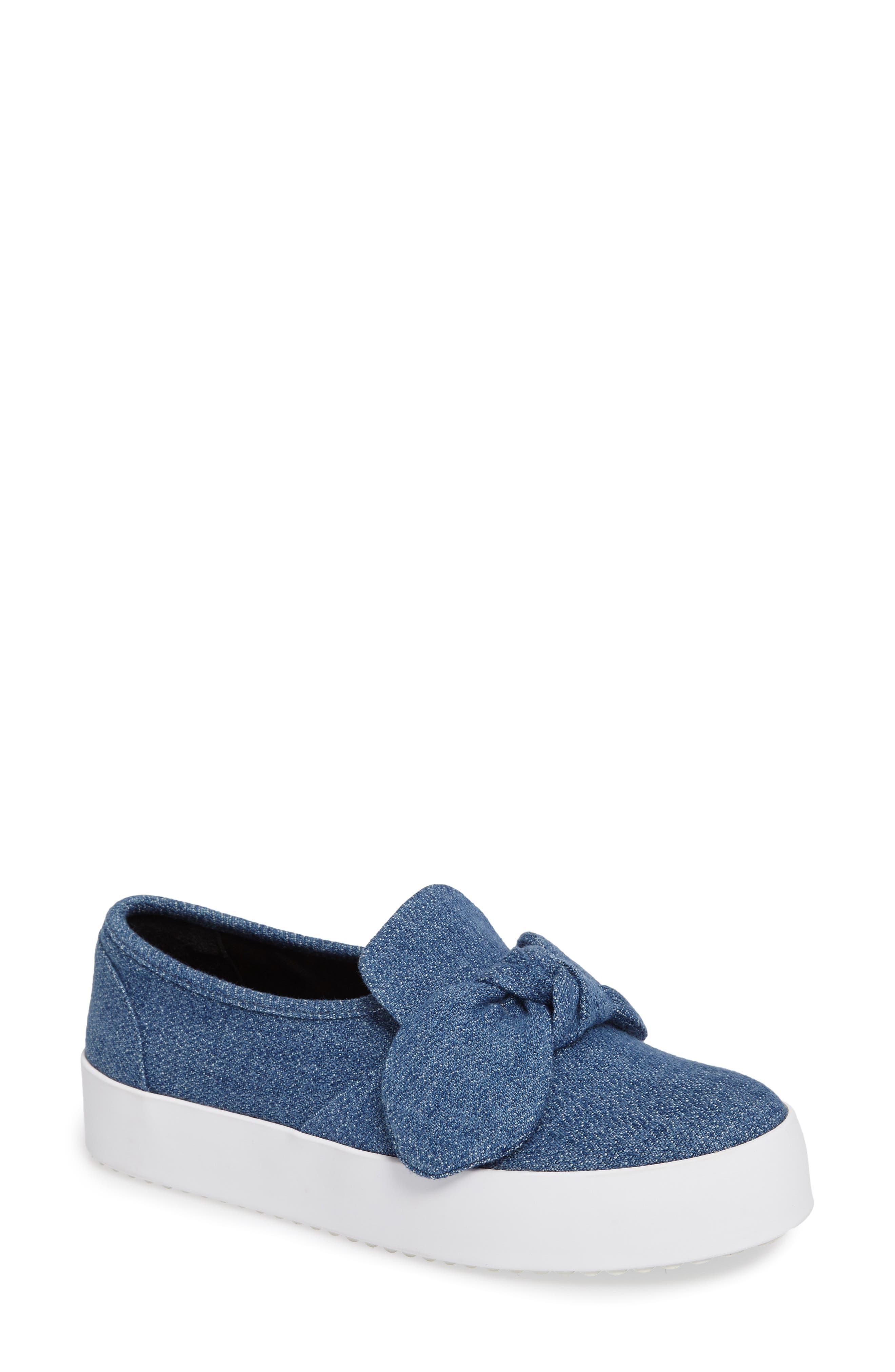 Stacey Bow Platform Sneaker,                         Main,                         color, Light Blue Denim