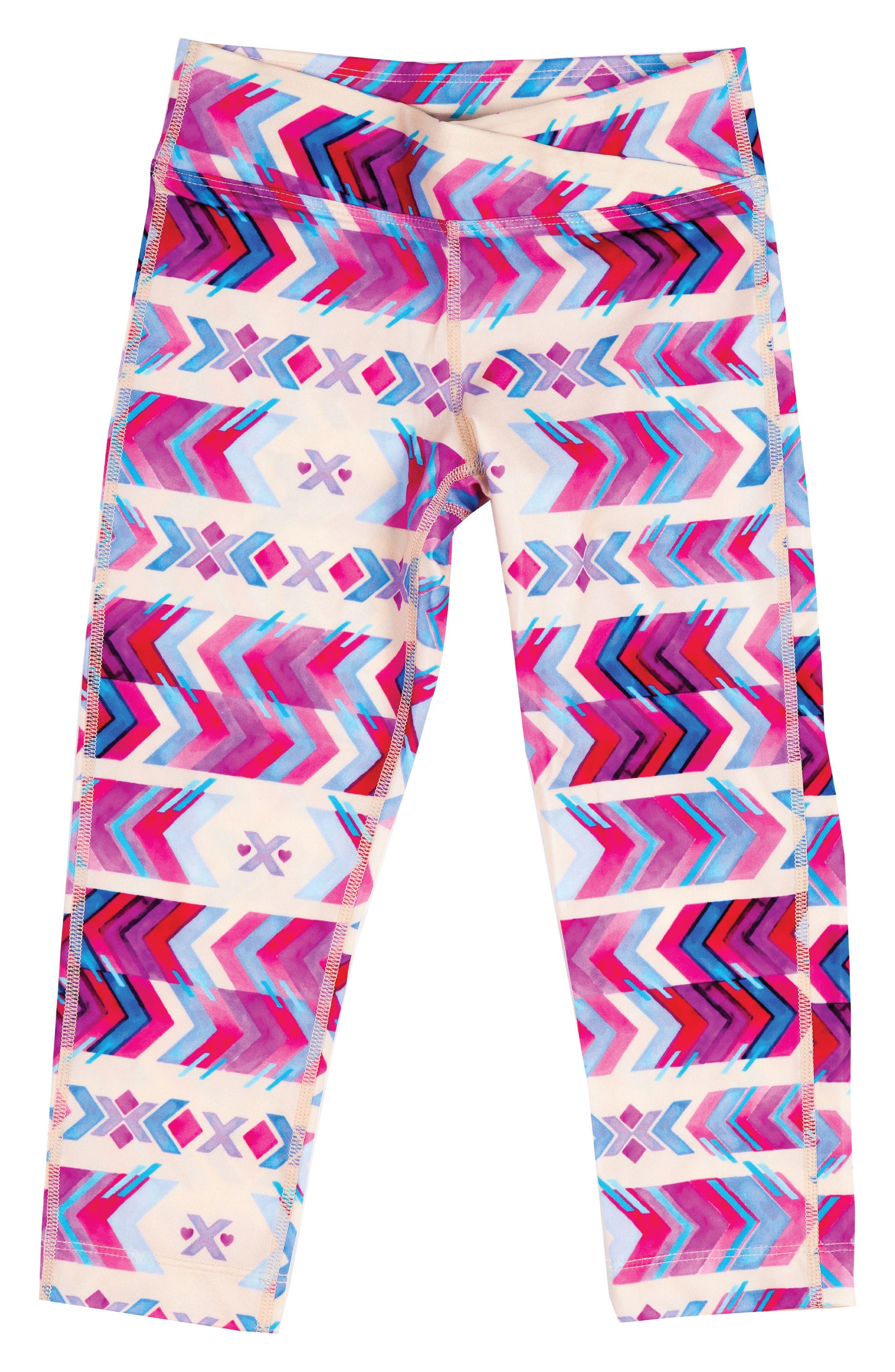 Surf's Up Swim Leggings,                         Main,                         color, Cream/ Pink Aztec Print