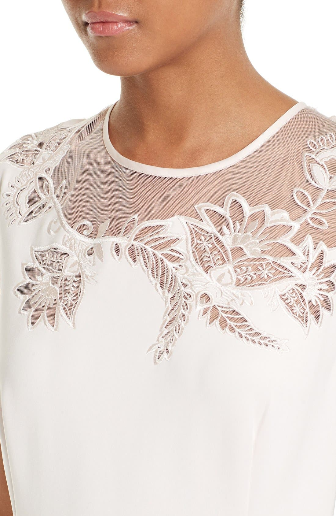 Alternate Image 4  - Ted Baker London Dollii Embroidered Illusion Fit & Flare Dress