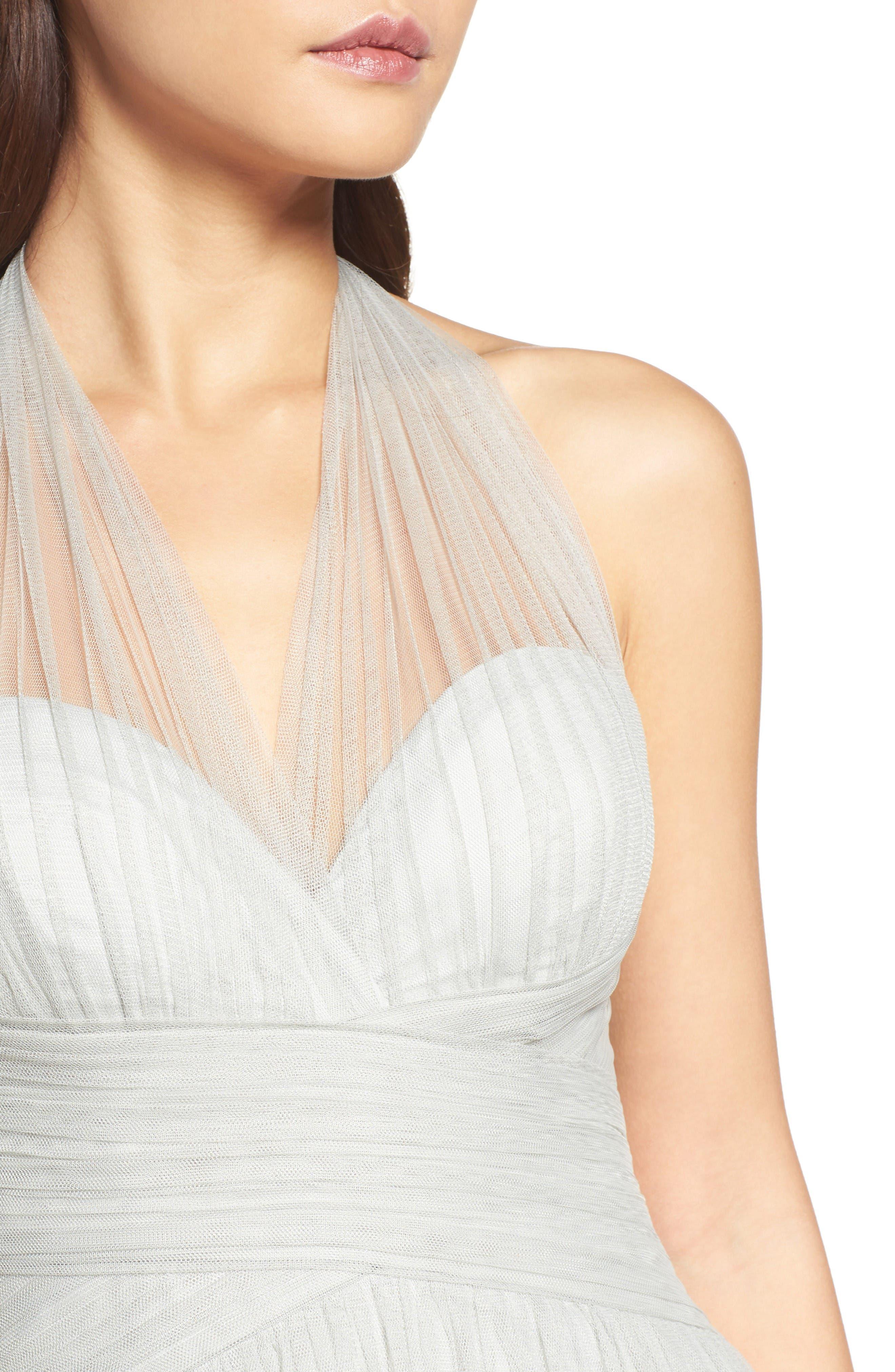 Halter Tulle A-Line Gown,                             Alternate thumbnail 4, color,                             Eucalyptus