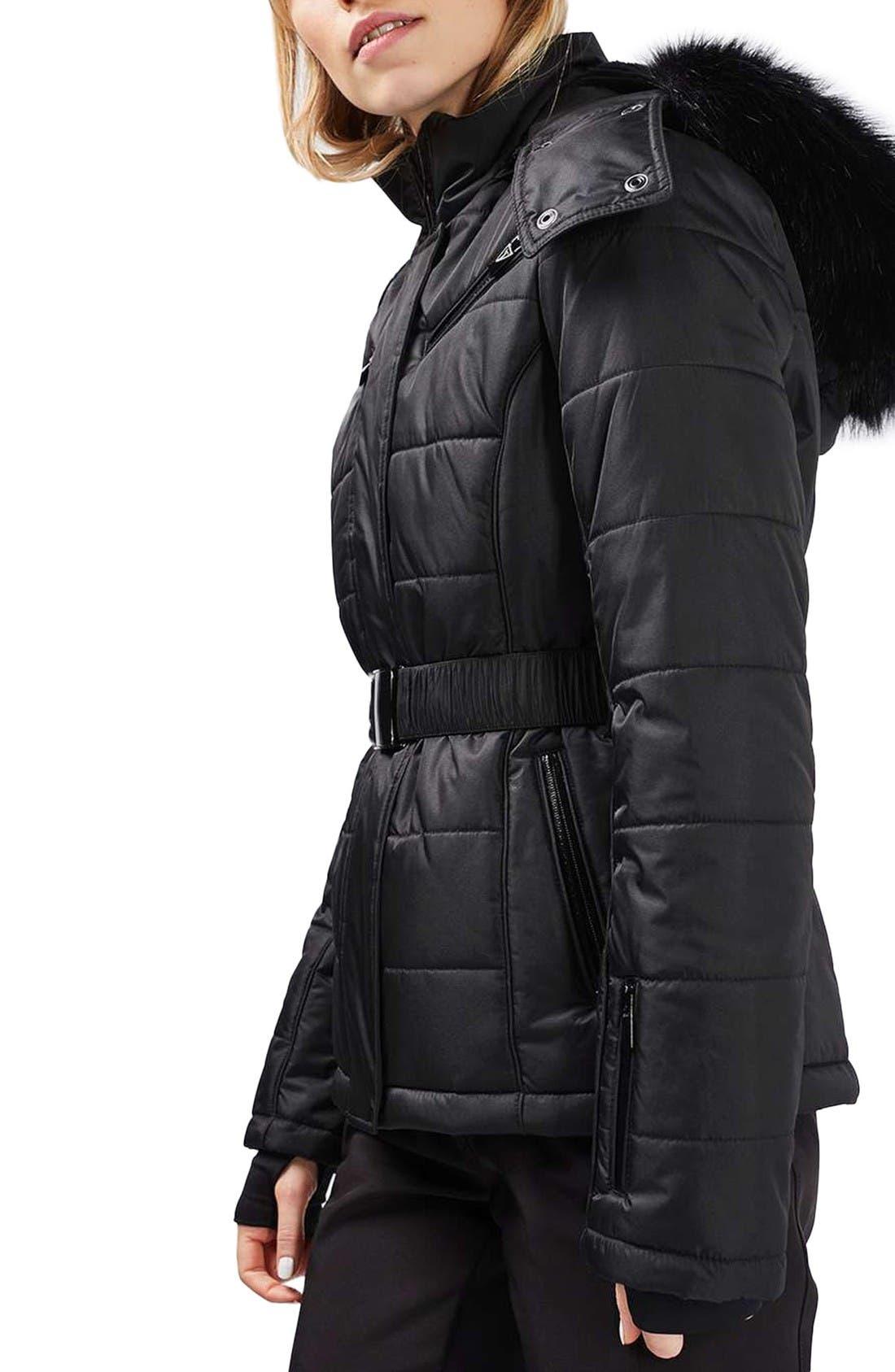 Main Image - Topshop Bowie Faux Fur Trim Ski Jacket