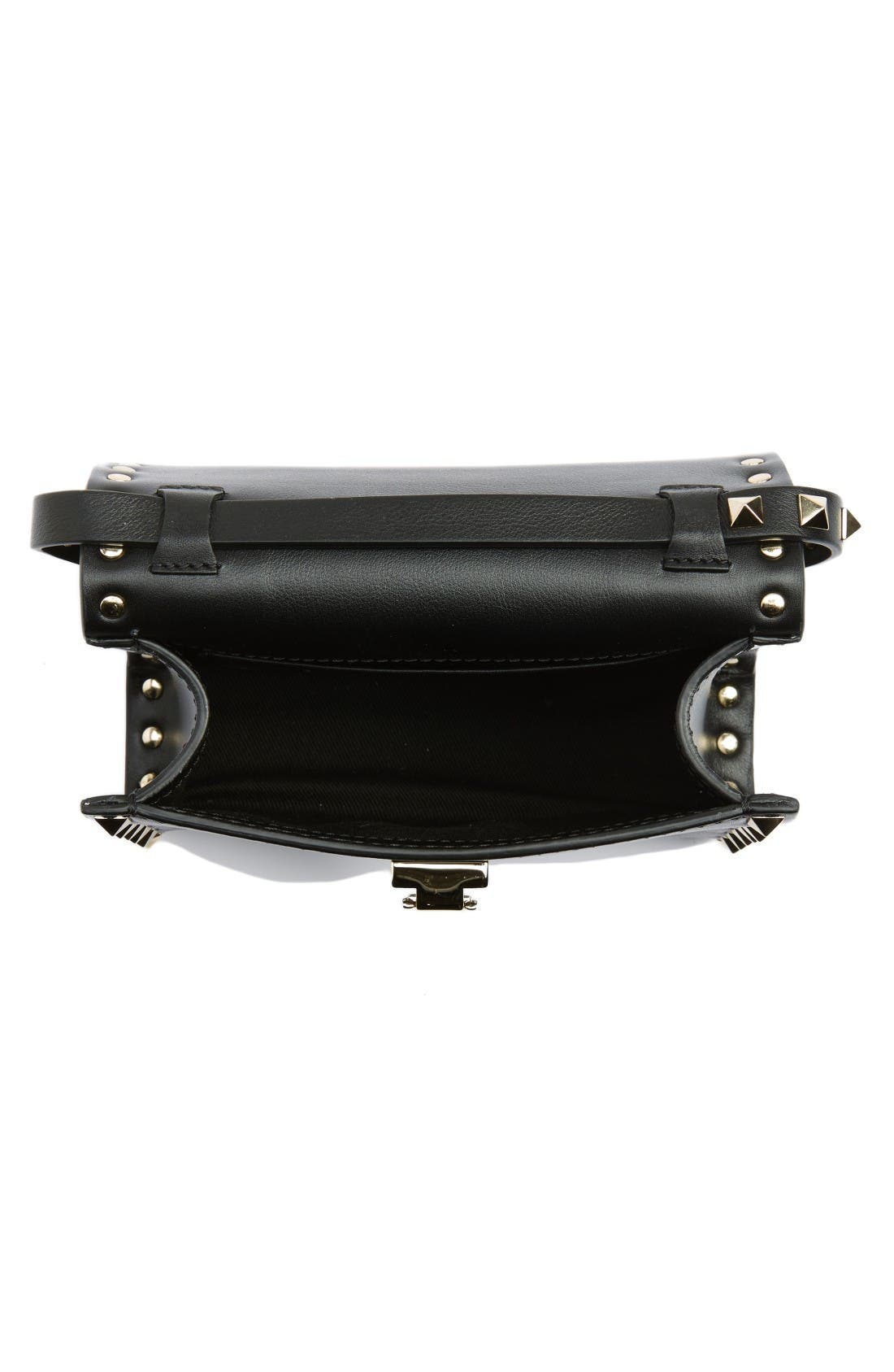 Small Rockstud Leather Shoulder Bag,                             Alternate thumbnail 4, color,                             Nero